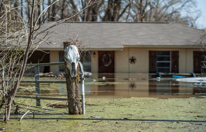 Backwater flooding consumes this home in the Redwood community north of Vicksburg, March 19, 2019.