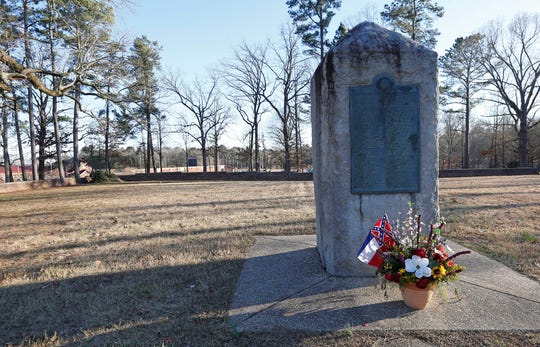 This March 5, 2019, file photo shows a memorial marker standing in the University of Mississippi campus cemetery that has the graves of Confederate soldiers killed at the Battle of Shiloh.