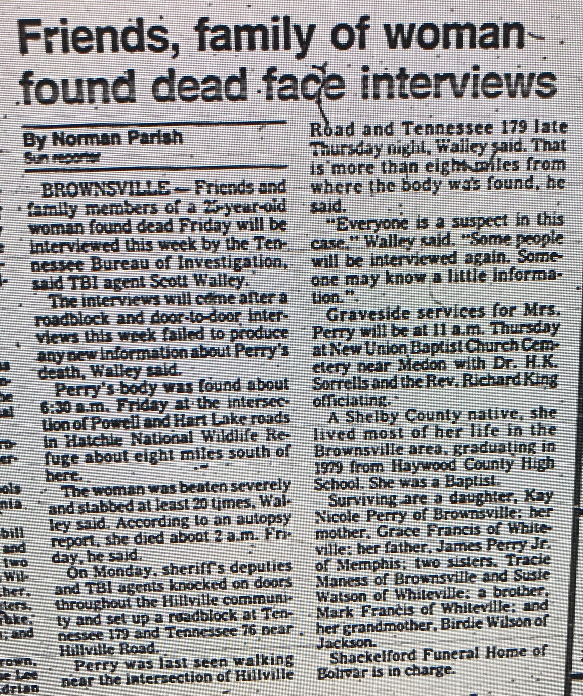 Early reporting of 25-year-old Donna Perry's death in Brownsville, Tennessee, appeared only in the obituary section of the Jackson Sun.