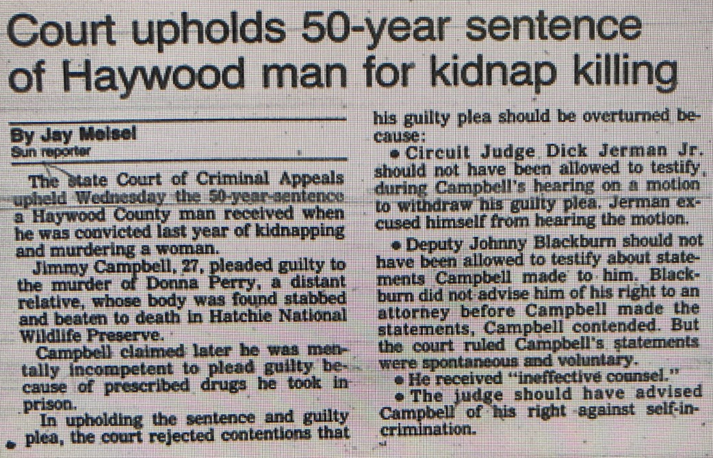 The Jackson Sun reported on the Court of Criminal Appeals' affirmation of Jimmy Edward Campbell's 50-year sentence for the kidnapping and murder of Donna Perry in the March 17, 1988 issue of the newspaper.