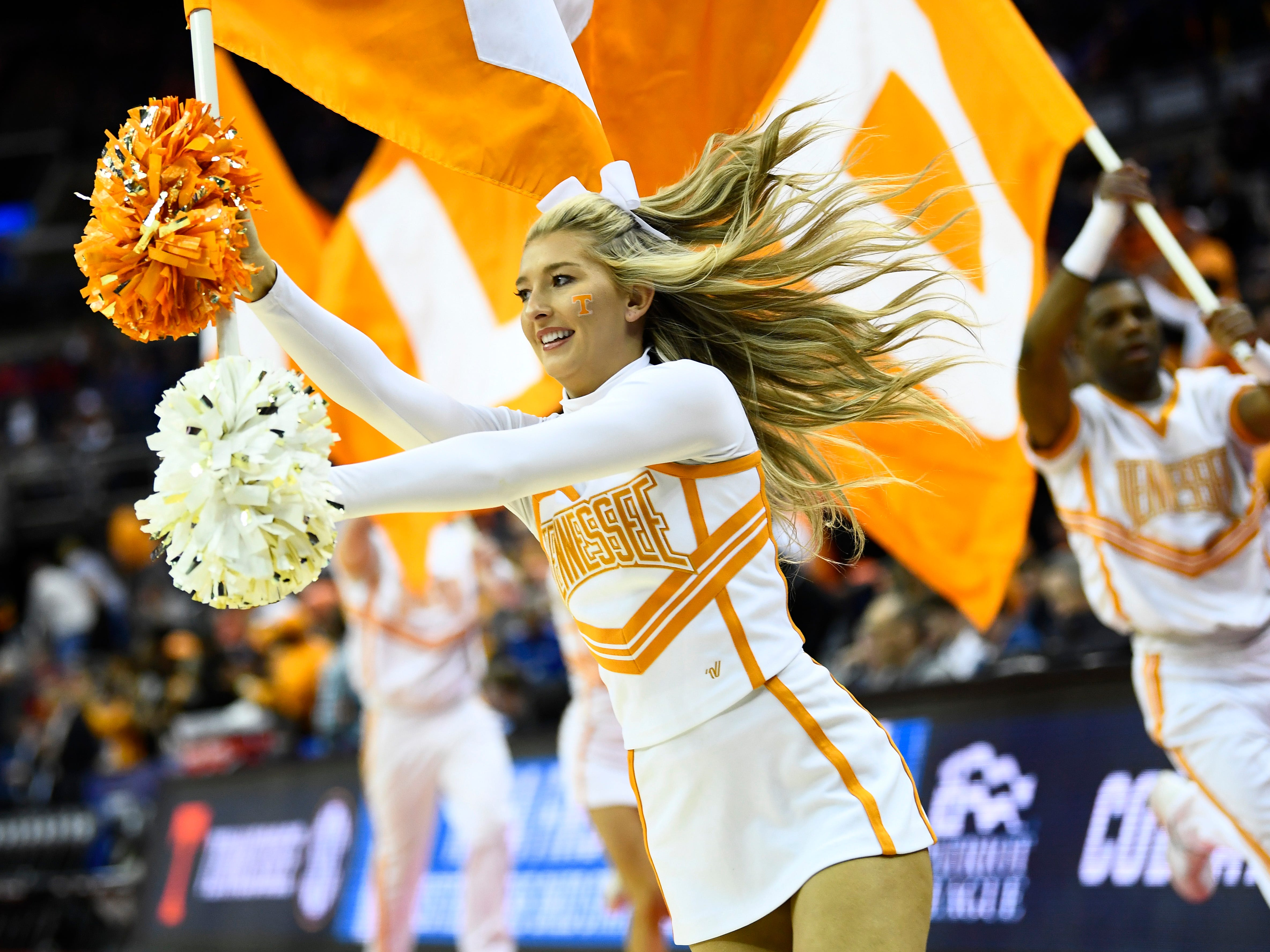 UT cheerleaders come out to the court before the Tennessee VolunteersÕ basketball game against the Colgate Raiders in the first round of the NCAA Tournament at Nationwide Arena in Columbus, Ohio, on Friday, March 22, 2019.