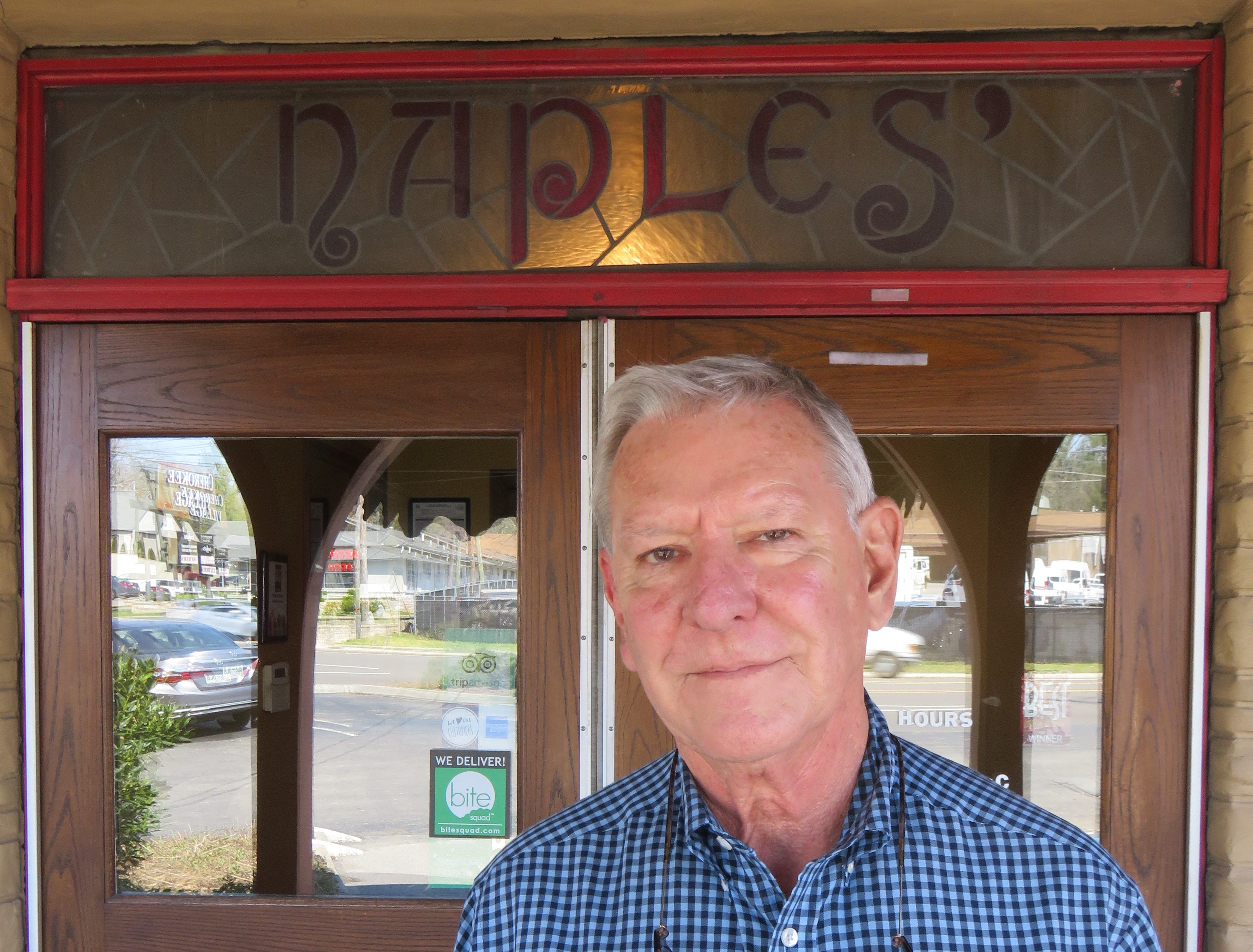 Owner Bob Luper in front of Naples Italian Restaurant on March 20. He and wife Becky recently sold the restaurant and property. 2019