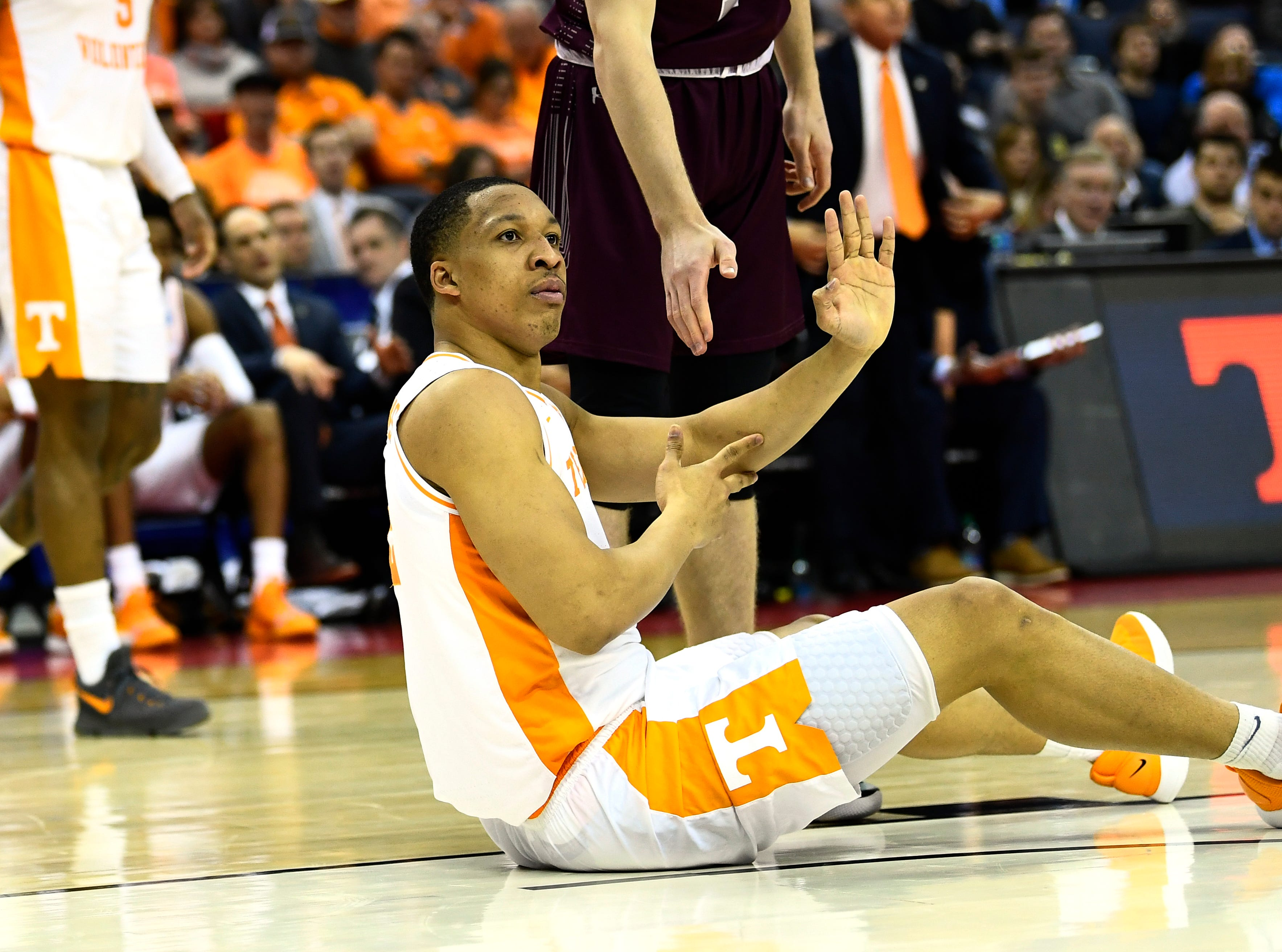 Tennessee forward Grant Williams (2) looks for a foul call during game against the Colgate Raiders in the first round of the NCAA Tournament at Nationwide Arena in Columbus, Ohio, on Friday, March 22, 2019.