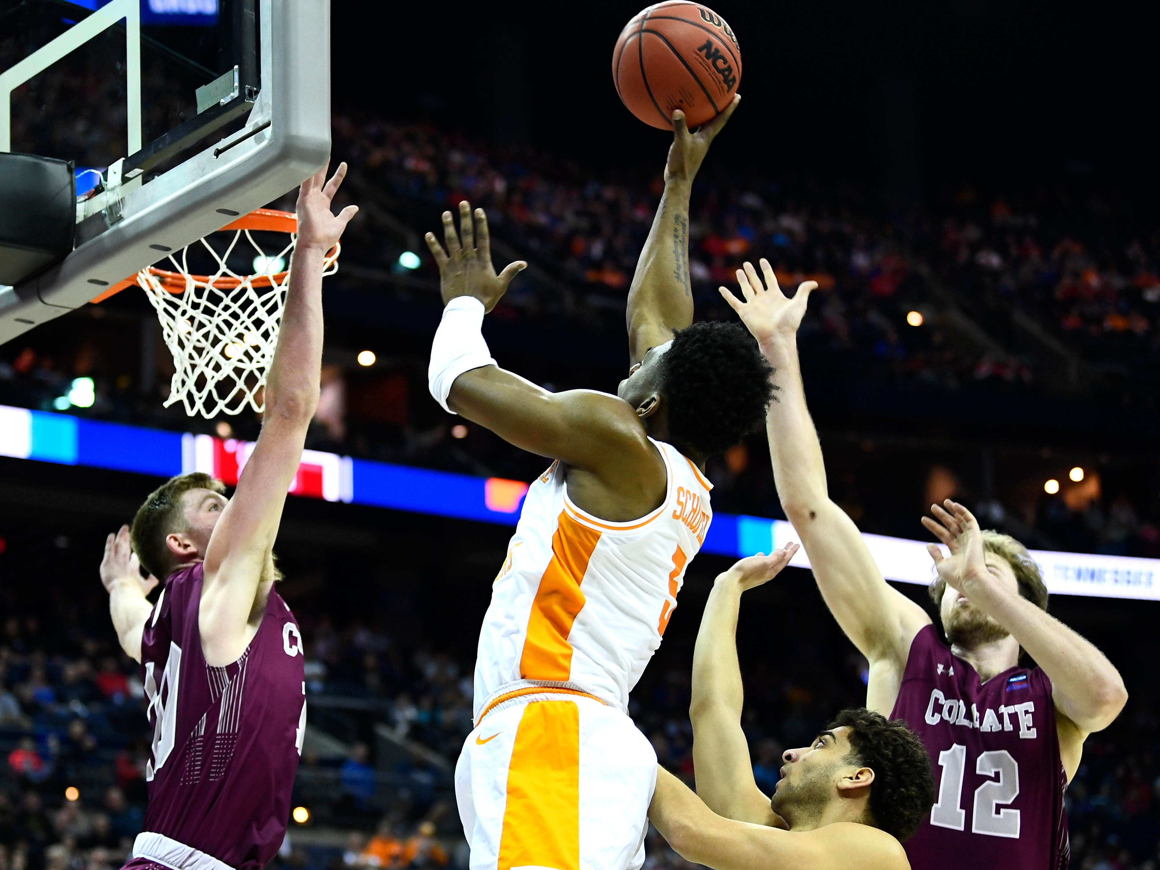 Tennessee guard Admiral Schofield (5) shoots over Colgate forward Will Rayman (10) in the first round game of the NCAA Tournament at Nationwide Arena in Columbus, Ohio, on Friday, March 22, 2019.