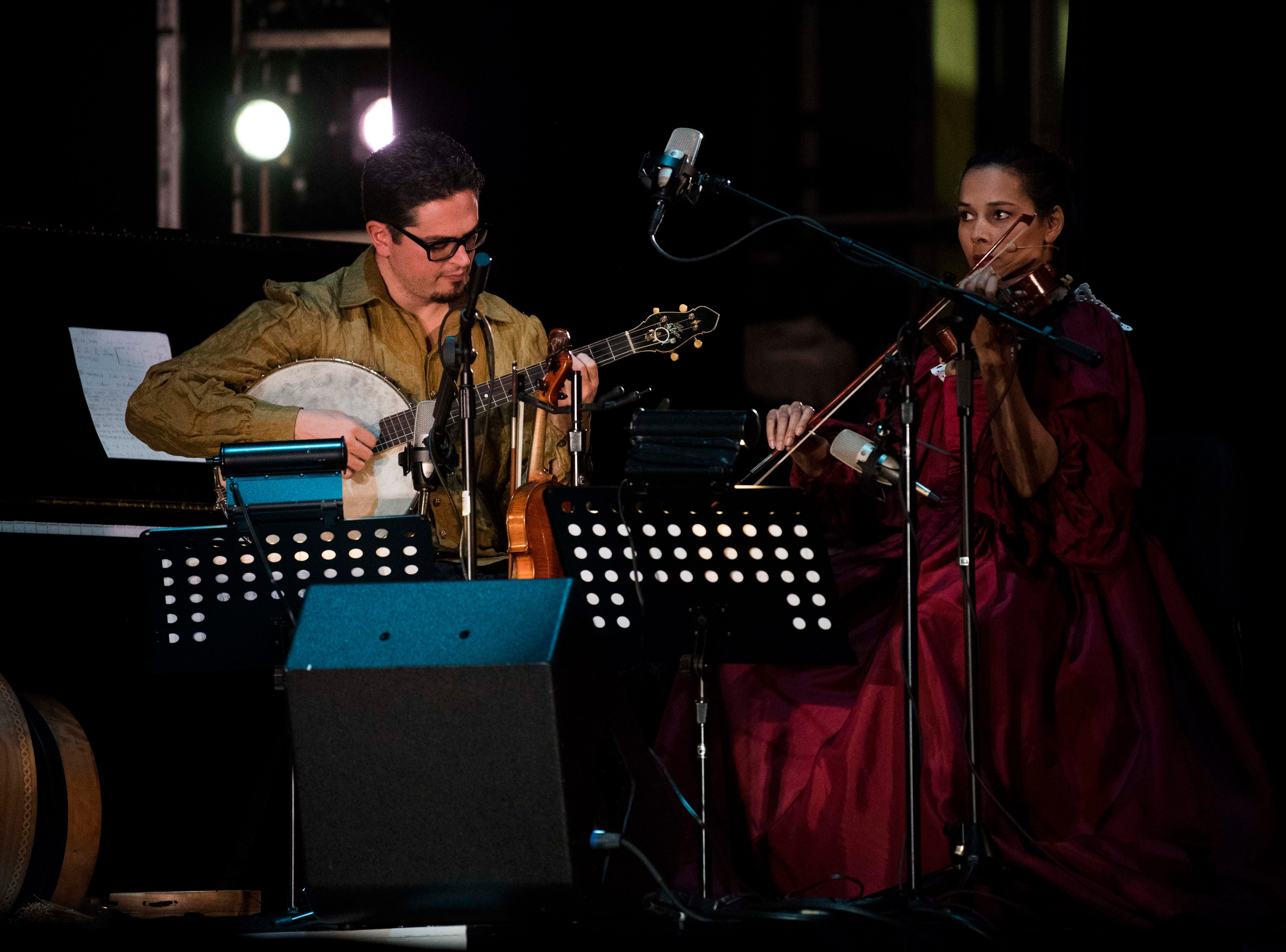 Rhiannon Giddens and Francesco Turrisi perform music for The Nashville Ballet's Lucy Negro Redux, in the Tennessee Theatre, with music by , and poetry by Caroline Randall Williams, in Knoxville Thursday, March 21, 2019.