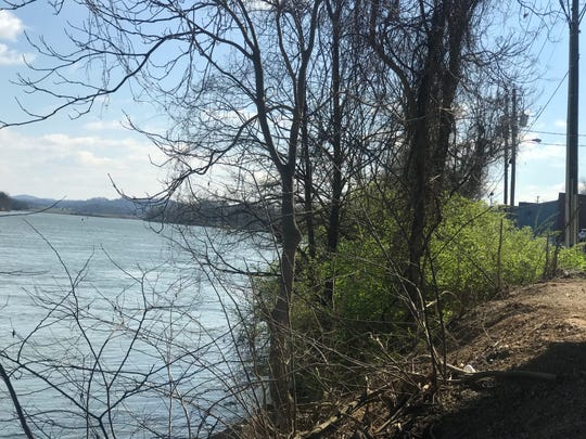 A view of the Tennessee River from underneath the James White Parkway bridge looking east towards the River's Edge Apartment Homes.