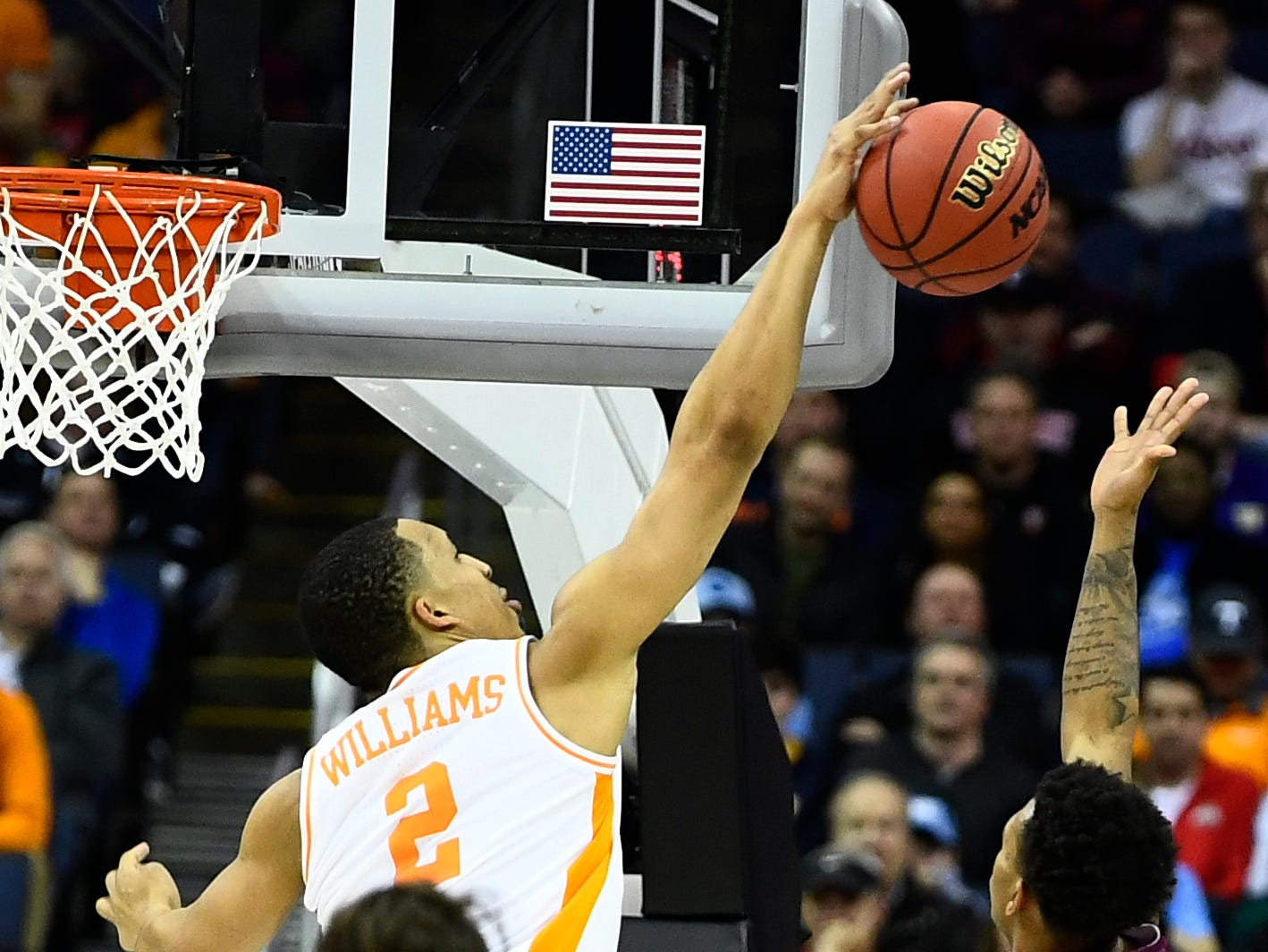 Tennessee forward Grant Williams (2) blocks a Colgate shot during their first round game in the NCAA Tournament at Nationwide Arena in Columbus, Ohio, on Friday, March 22, 2019.