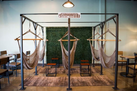 Hammocks hang in K Brew's new West Hills location on Kingston Pike near West Town Mall.