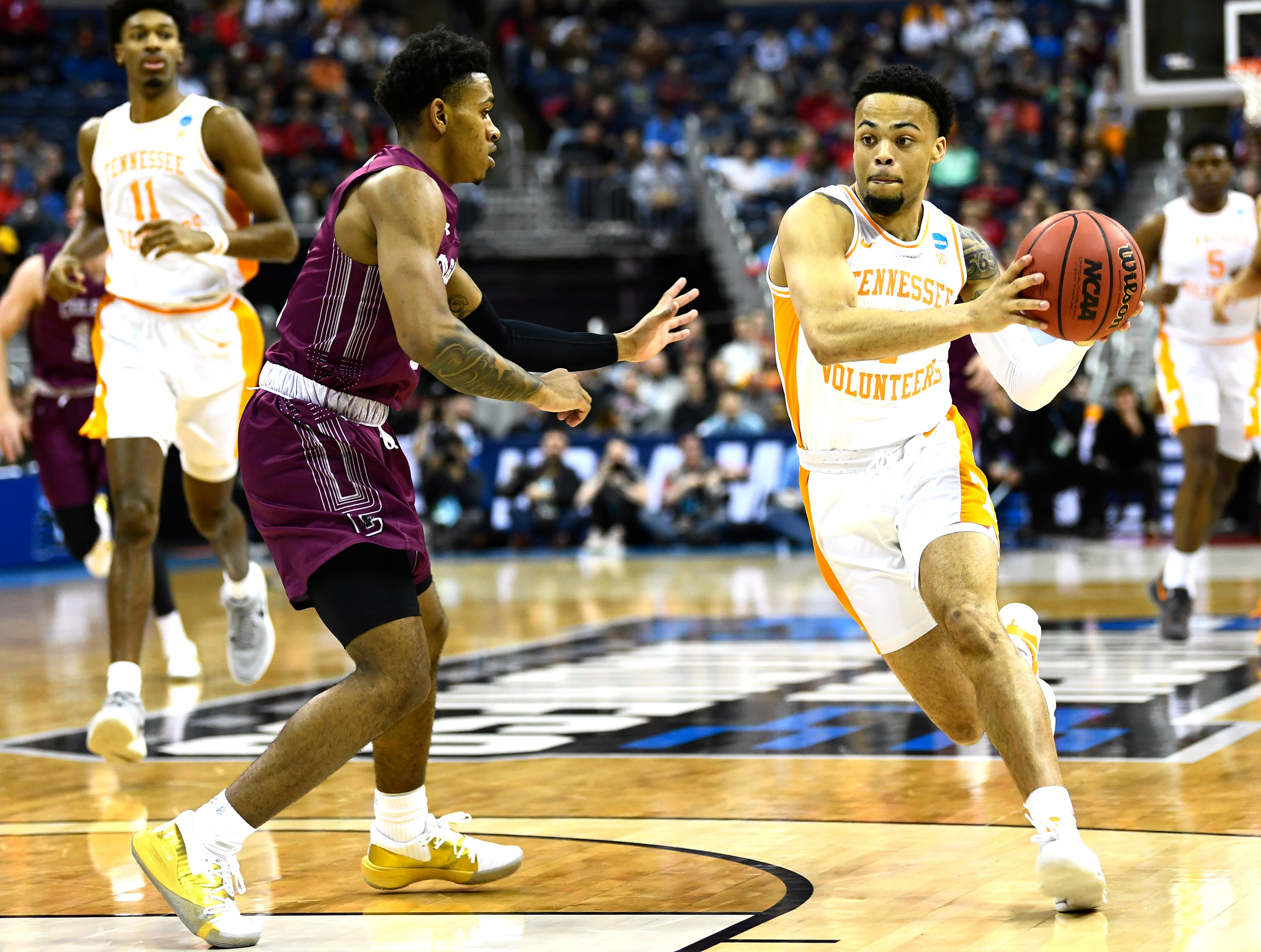 Tennessee guard Lamonte Turner (1) drives to the basket during the game against the Colgate Raiders in the first round of the NCAA Tournament at Nationwide Arena in Columbus, Ohio, on Friday, March 22, 2019.