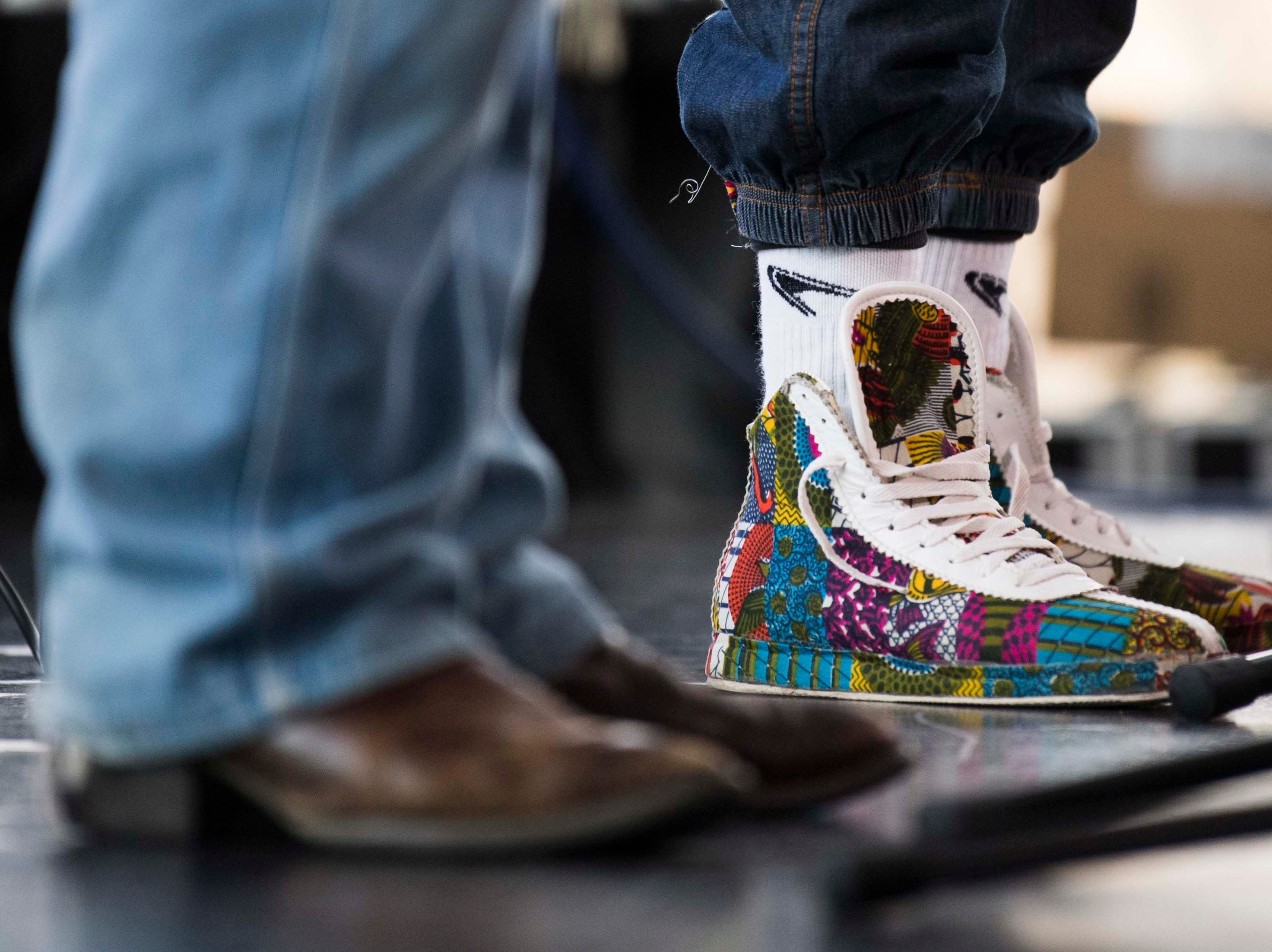 Unique shoes are seen on stage at the Big Ears Festival, in the Knoxville Museum of Art in Knoxville Thursday, March 21, 2019.