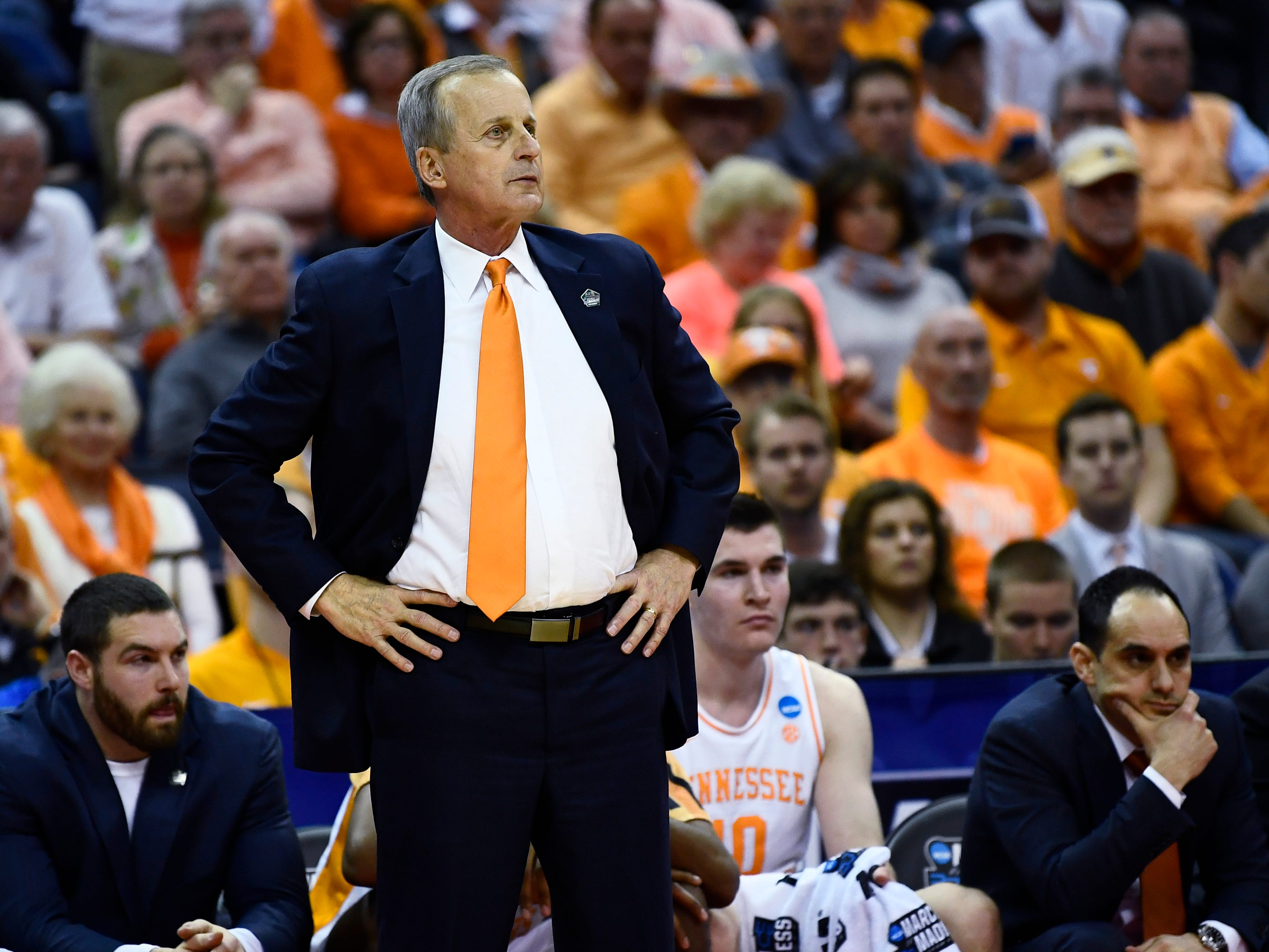 Tennessee head coach Rick Barnes watches action in the second half during the game against the Colgate Raiders in the first round of the NCAA Tournament at Nationwide Arena in Columbus, Ohio, on Friday, March 22, 2019.