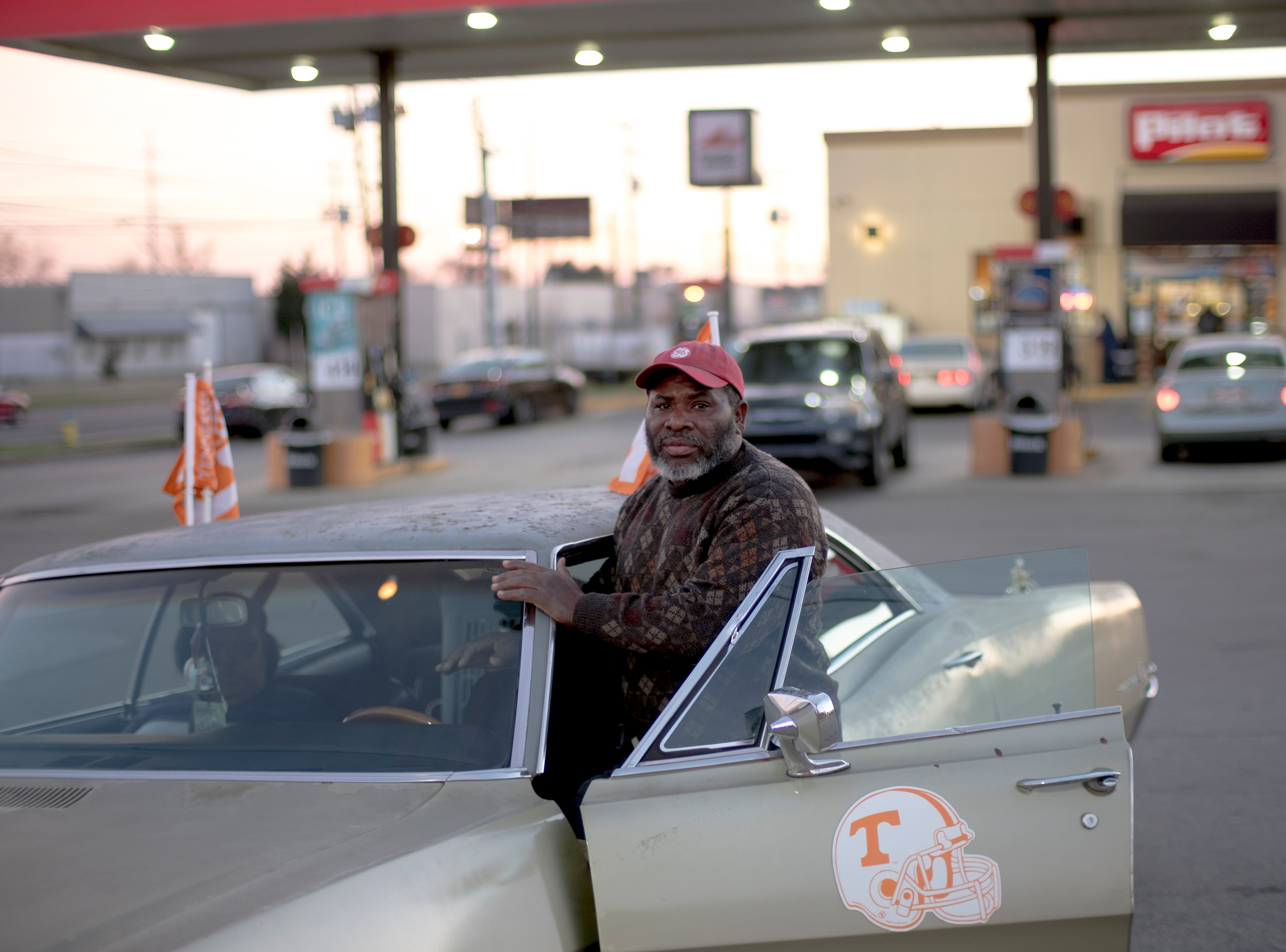 Greg Bentley poses with his newly purchased 1968 Buick Wildcat which he plans to refurbish and paint maroon at the Pilot on Western and Middlebrook in Knoxville, Tennessee on Saturday, March 16, 2019. Bentley says he enjoys classic cars, owning a 1986 Chevrolet C-10 and a 1972 Plymouth Fury III, which is wife Annie drives. A dedicated Vol fan, Bentley also decorates his cars with Tennessee decals.