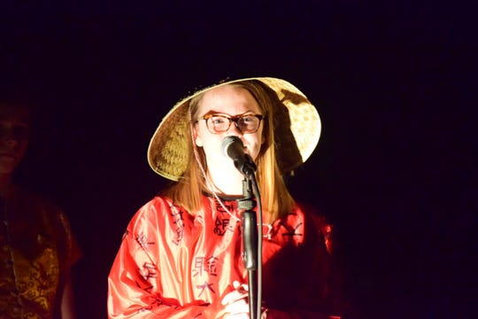 """Kalee Joiner plays Confucious during the Empires of the East scene in Hardin Valley Middle School's sixth-grade musical production, """"Dig it! A Musical Tale of Ancient Civilizations,"""" presented at the school Thursday, March 14, 2019."""