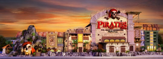 An exterior rendering of the Pirates Voyage building.