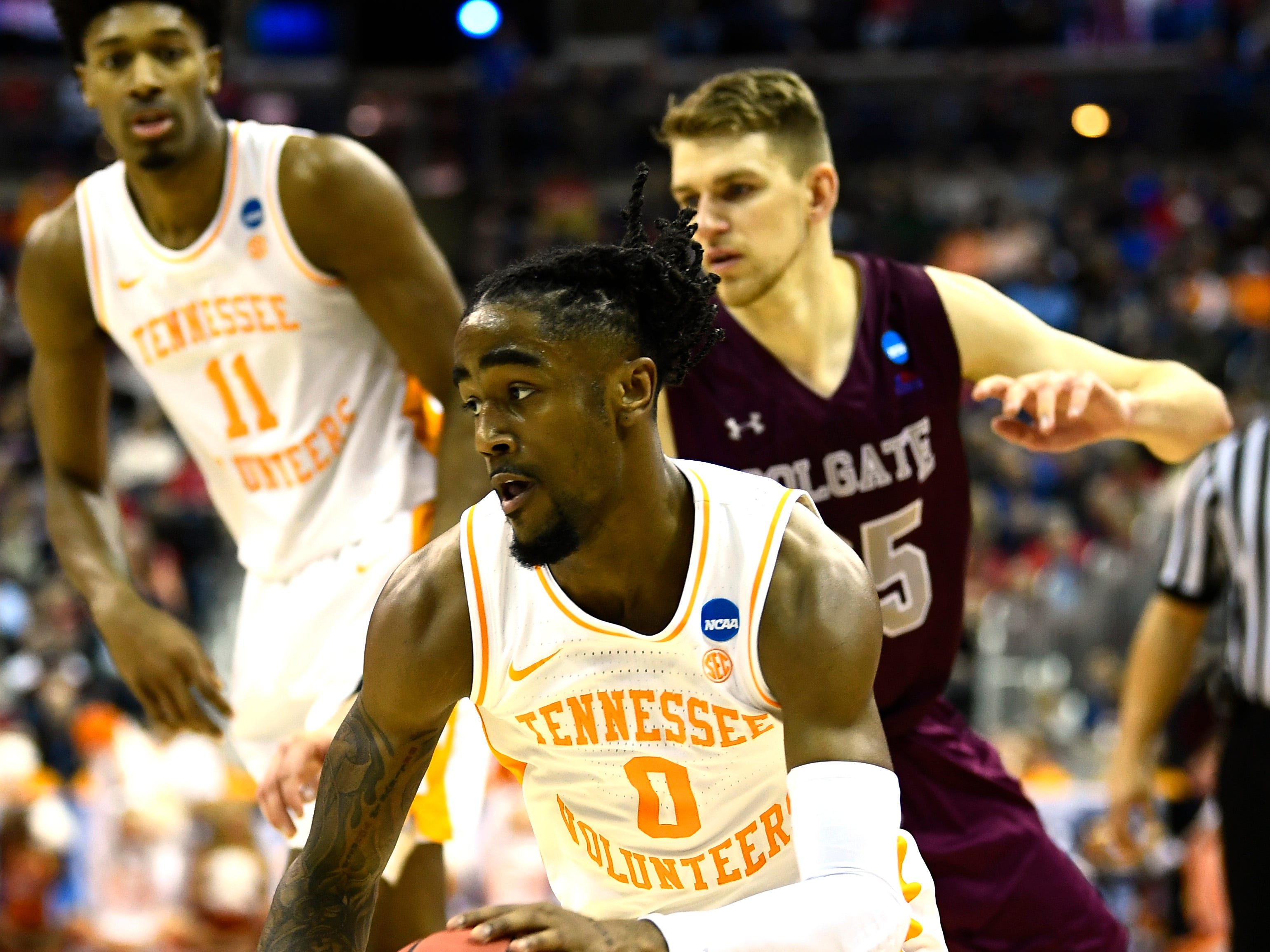 Tennessee guard Jordan Bone (0) drives to the basekt during the game against the Colgate Raiders in the first round of the NCAA Tournament at Nationwide Arena in Columbus, Ohio, on Friday, March 22, 2019.