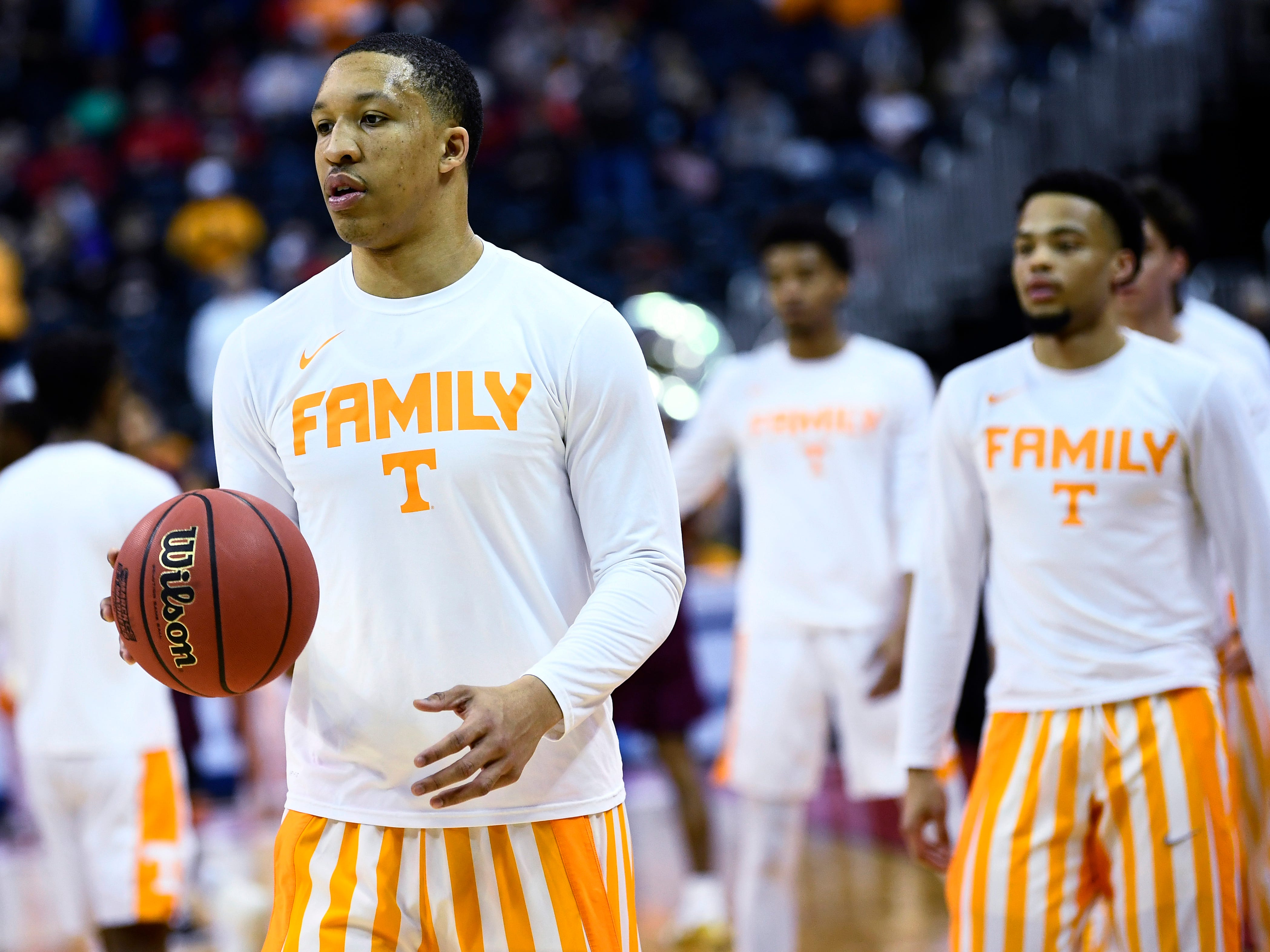Tennessee forward Grant Williams (2) warms up with teammates before the Tennessee VolunteersÕ basketball game against the Colgate Raiders in the first round of the NCAA Tournament at Nationwide Arena in Columbus, Ohio, on Friday, March 22, 2019.