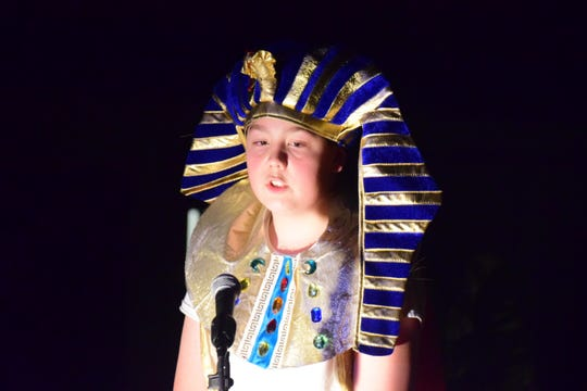 """Anderson Rast, as Egyptian King Zoser, tells his servants to start building a pyramid during Hardin Valley Middle School's sixth-grade musical production, """"Dig it! A Musical Tale of Ancient Civilizations,"""" presented at the school Thursday, March 14, 2019."""