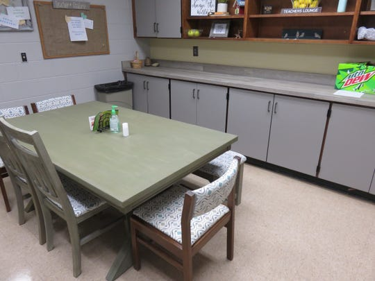 Remodeled teachers lounge at West Hills Elementary.