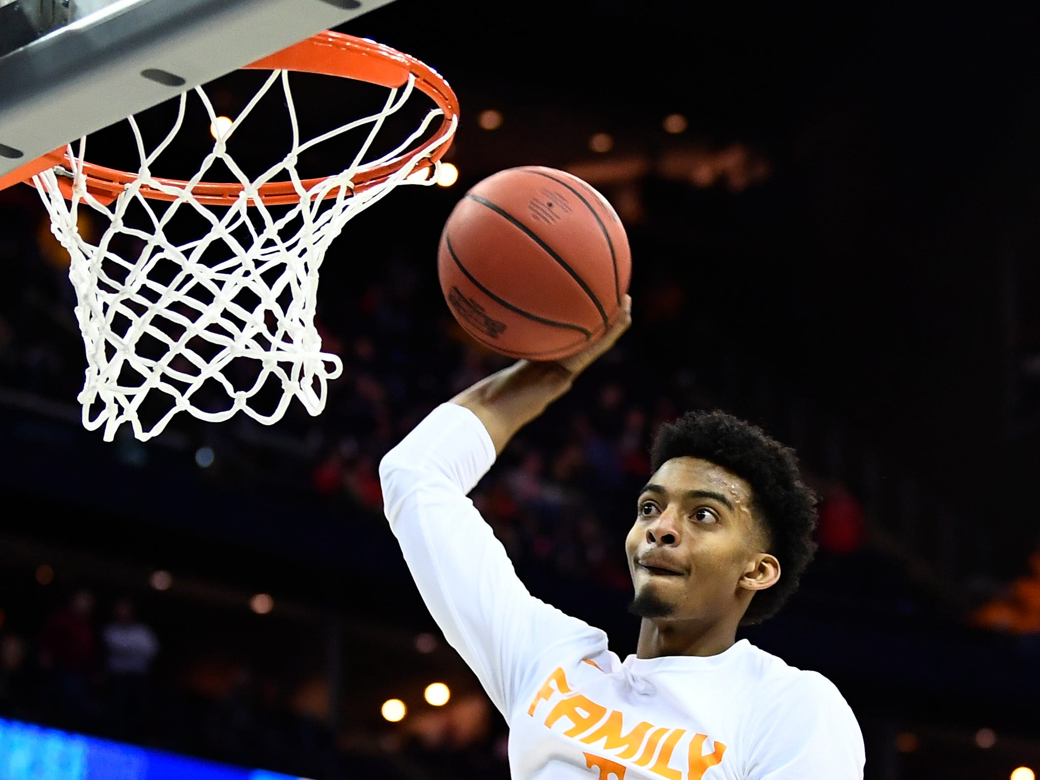 Tennessee guard Jalen Johnson (13) goes to the basket during warmups before the Tennessee VolunteersÕ basketball game against the Colgate Raiders in the first round of the NCAA Tournament at Nationwide Arena in Columbus, Ohio, on Friday, March 22, 2019.