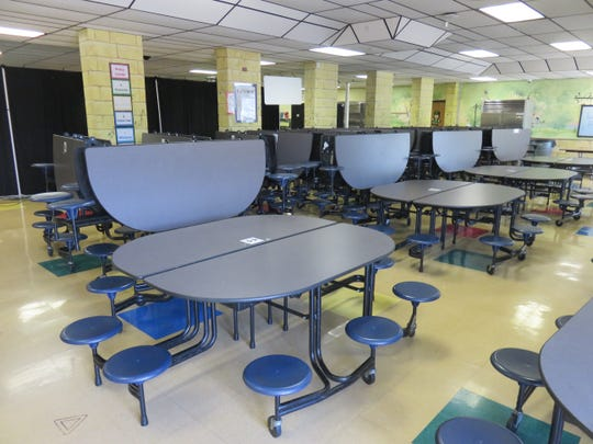 Inside the West Hills Elementary cafeteria.