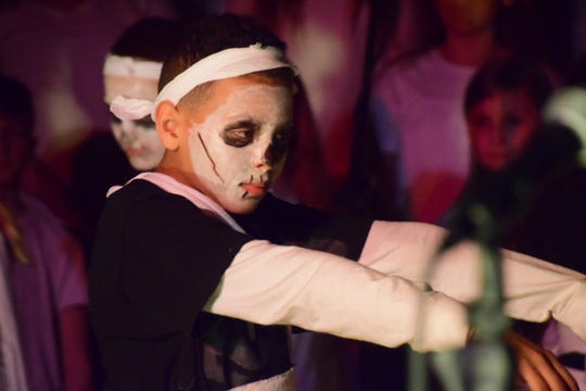 """Jayden Sheard helped choreograph the dancing numbers in Hardin Valley Middle School's sixth-grade musical production, """"Dig it! A Musical Tale of Ancient Civilizations,"""" presented at the school Thursday, March 14, 2019."""