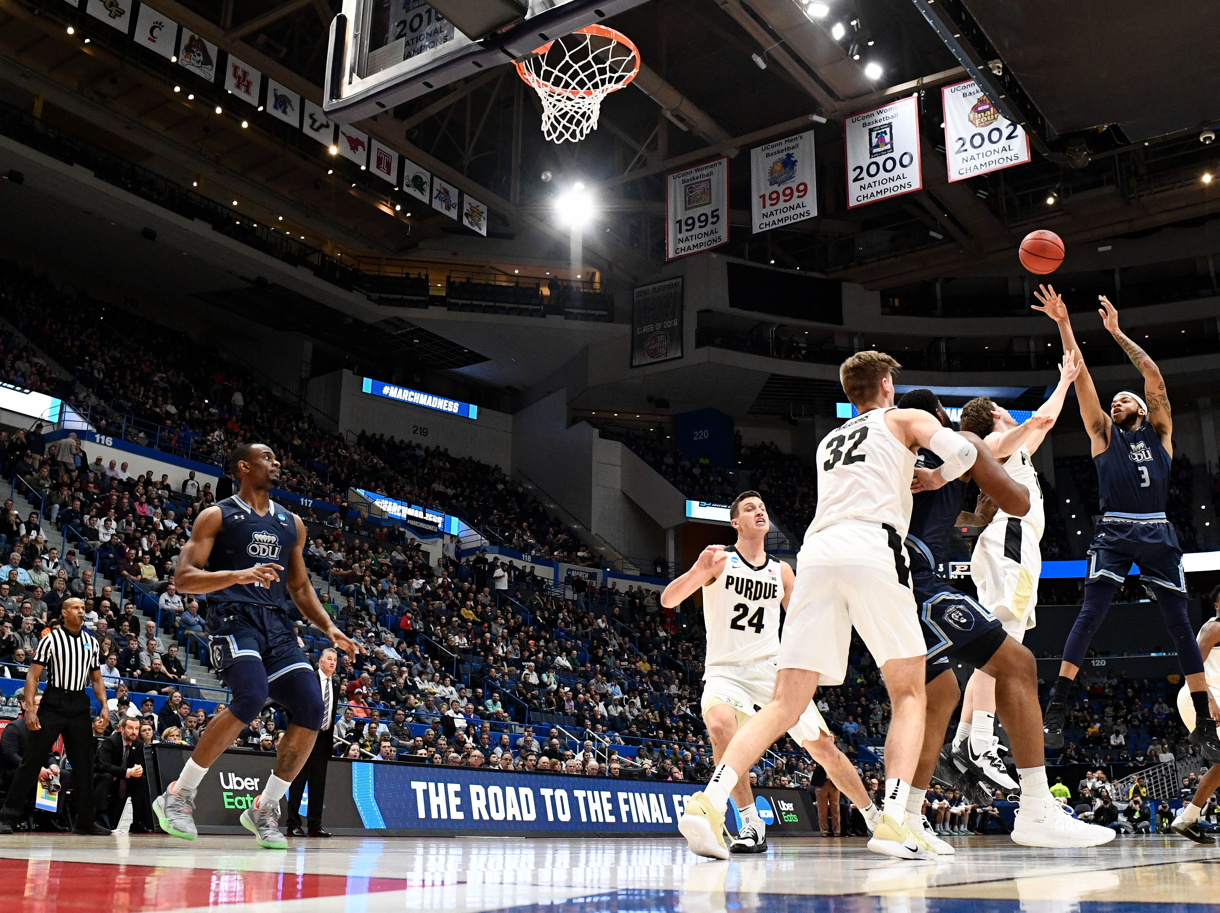 Mar 21, 2019; Hartford, CT, USA; Old Dominion Monarchs guard B.J. Stith (3) attempts a shot against the Purdue Boilermakers during the first half of a game in the first round of the 2019 NCAA Tournament at XL Center. Mandatory Credit: Robert Deutsch-USA TODAY Sports
