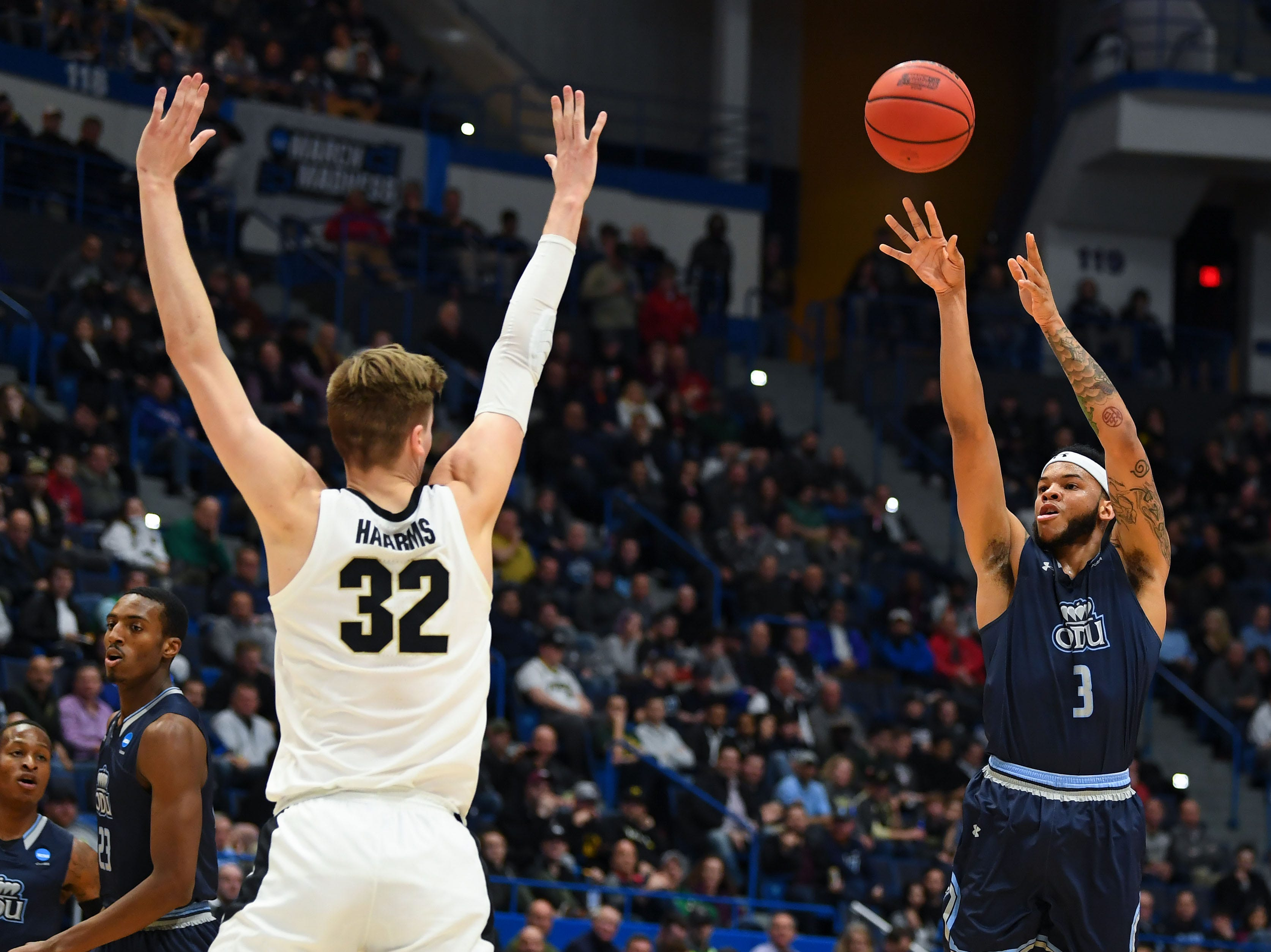 Mar 21, 2019; Hartford, CT, USA; Old Dominion Monarchs guard B.J. Stith (3) attempts a shot past Purdue Boilermakers center Matt Haarms (32) during the first half of a game in the first round of the 2019 NCAA Tournament at XL Center. Mandatory Credit: Robert Deutsch-USA TODAY Sports