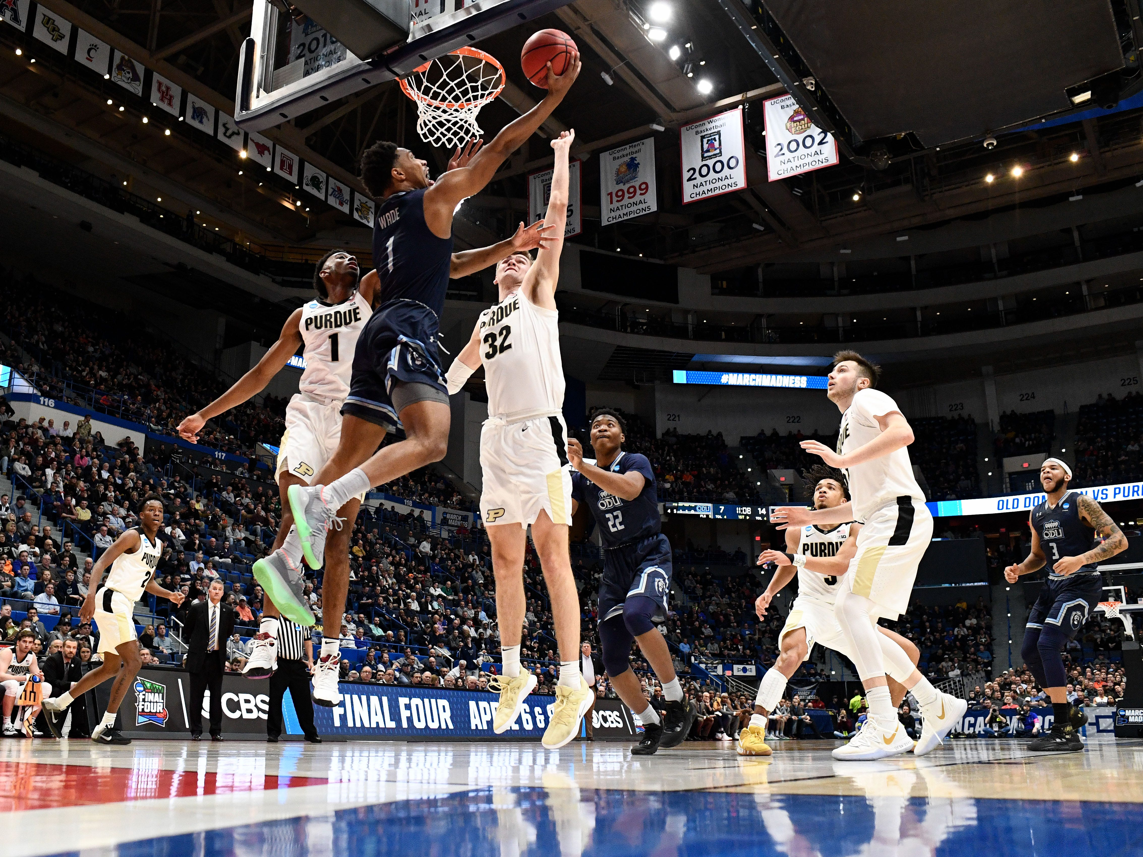 Mar 21, 2019; Hartford, CT, USA; Old Dominion Monarchs guard Jason Wade (1) attempt a layup against the Purdue Boilermakers during the first half of a game in the first round of the 2019 NCAA Tournament at XL Center. Mandatory Credit: Robert Deutsch-USA TODAY Sports