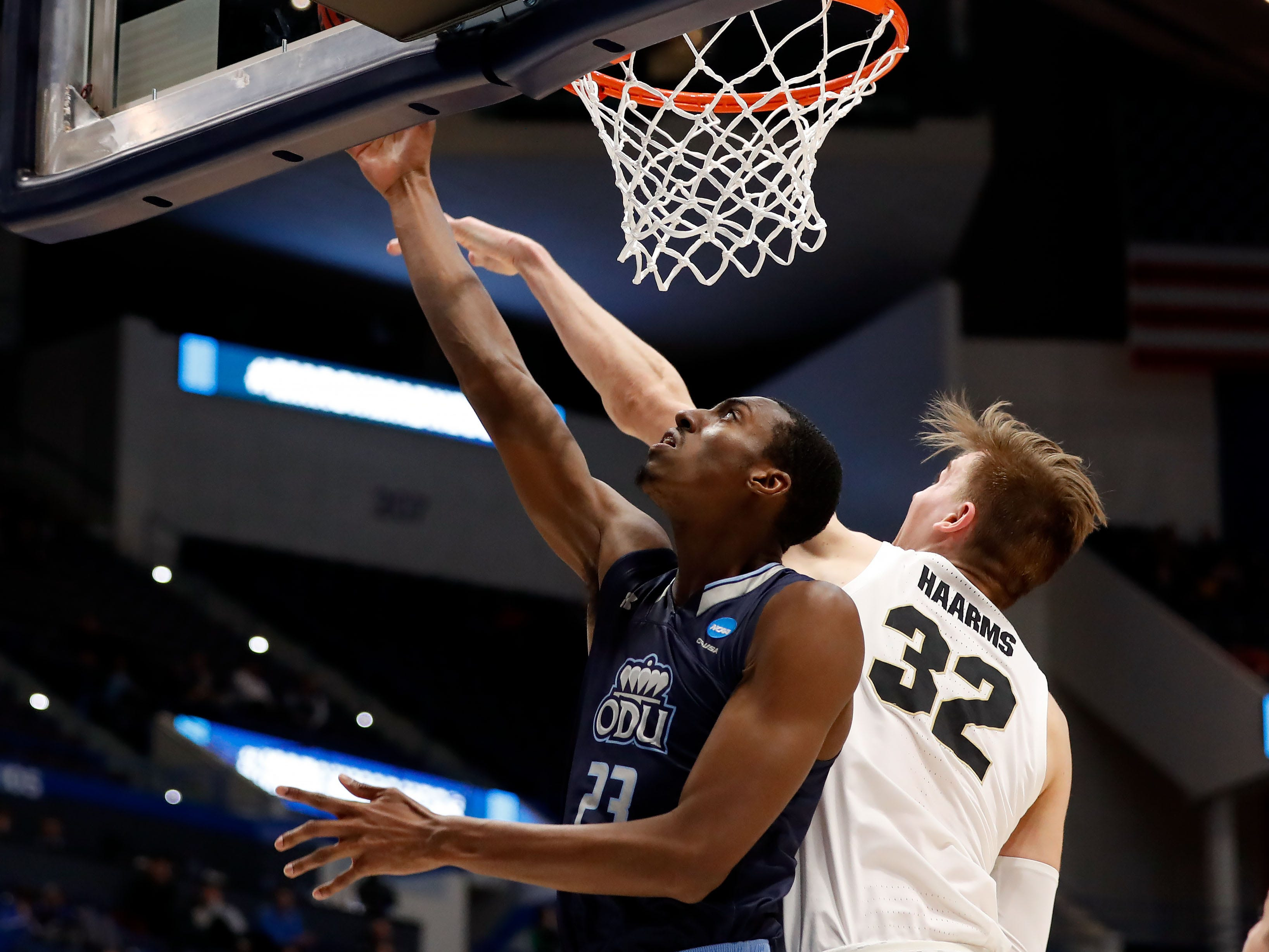 Mar 21, 2019; Hartford, CT, USA; Purdue Boilermakers center Matt Haarms (32) blocks a shot from Old Dominion Monarchs forward Dajour Dickens (23) during the second half of a game in the first round of the 2019 NCAA Tournament at XL Center. Mandatory Credit: David Butler II-USA TODAY Sports