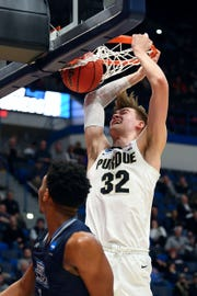 Mar 21, 2019; Hartford, CT, USA; Purdue Boilermakers center Matt Haarms (32) dunks and scores against the Old Dominion Monarchs during the second half of a game in the first round of the 2019 NCAA Tournament at XL Center. Mandatory Credit: Robert Deutsch-USA TODAY Sports