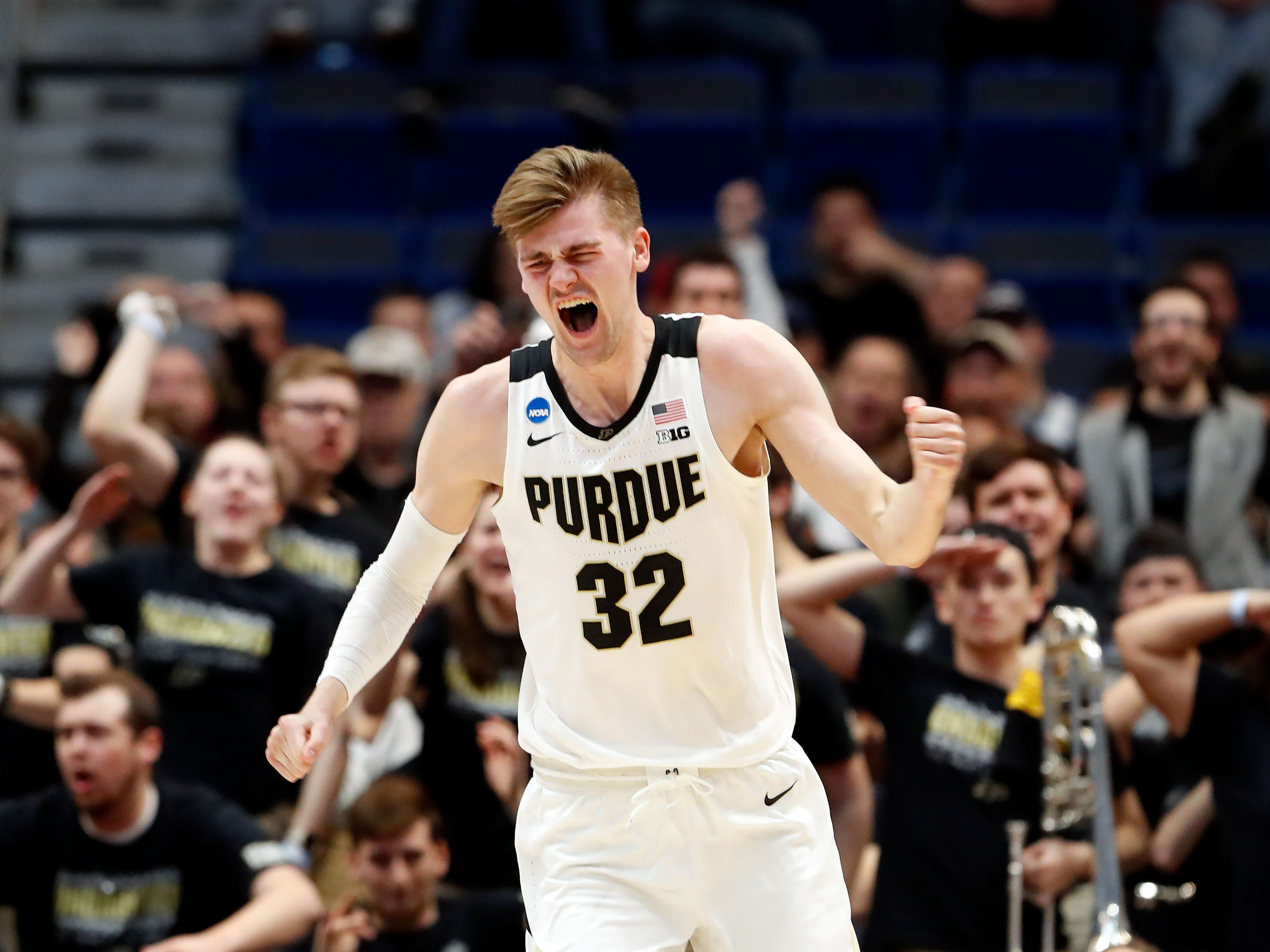 Mar 21, 2019; Hartford, CT, USA; Purdue Boilermakers center Matt Haarms (32) reacts after a score against the Old Dominion Monarchs during the second half of a game in the first round of the 2019 NCAA Tournament at XL Center. Mandatory Credit: David Butler II-USA TODAY Sports