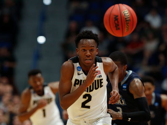 Mar 21, 2019; Hartford, CT, USA; Purdue Boilermakers guard Eric Hunter Jr. (2) chases down a loose ball during the first half of a game against the Old Dominion Monarchs in the first round of the 2019 NCAA Tournament at XL Center. Mandatory Credit: David Butler II-USA TODAY Sports