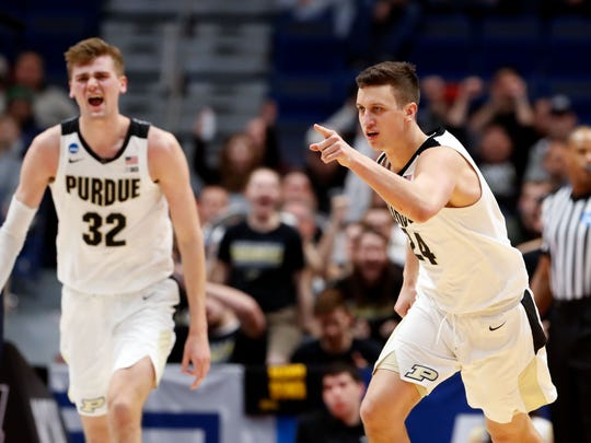 Mar 21, 2019; Hartford, CT, USA; Purdue Boilermakers forward Grady Eifert (24) reacts after a score against the Old Dominion Monarchs during the second half of a game in the first round of the 2019 NCAA Tournament at XL Center. Mandatory Credit: David Butler II-USA TODAY Sports