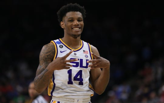 Mar 21, 2019; Jacksonville, FL, USA; LSU Tigers guard Marlon Taylor (14) reacts during the second half against the Yale Bulldogs in the first round of the 2019 NCAA Tournament at Jacksonville Veterans Memorial Arena. Mandatory Credit: Matt Stamey-USA TODAY Sports