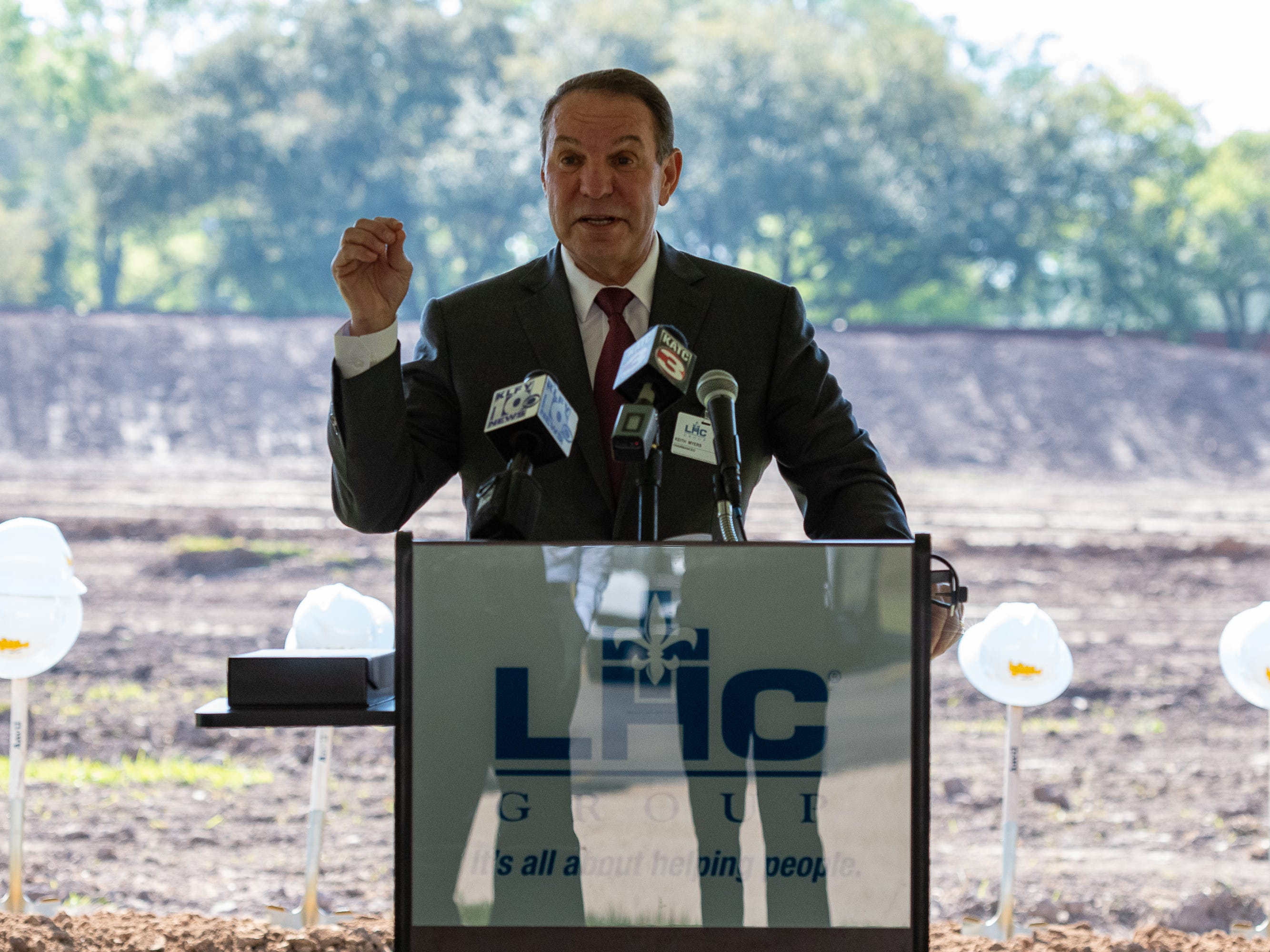 Keith G. Myers- co-founder and CEO of LHC Group speaking at ceremony as  LHC Group host local, regional, and state VIPs to officially celebrate the expansion of its Lafayette Home Office campus.. Friday, March 22, 2019.