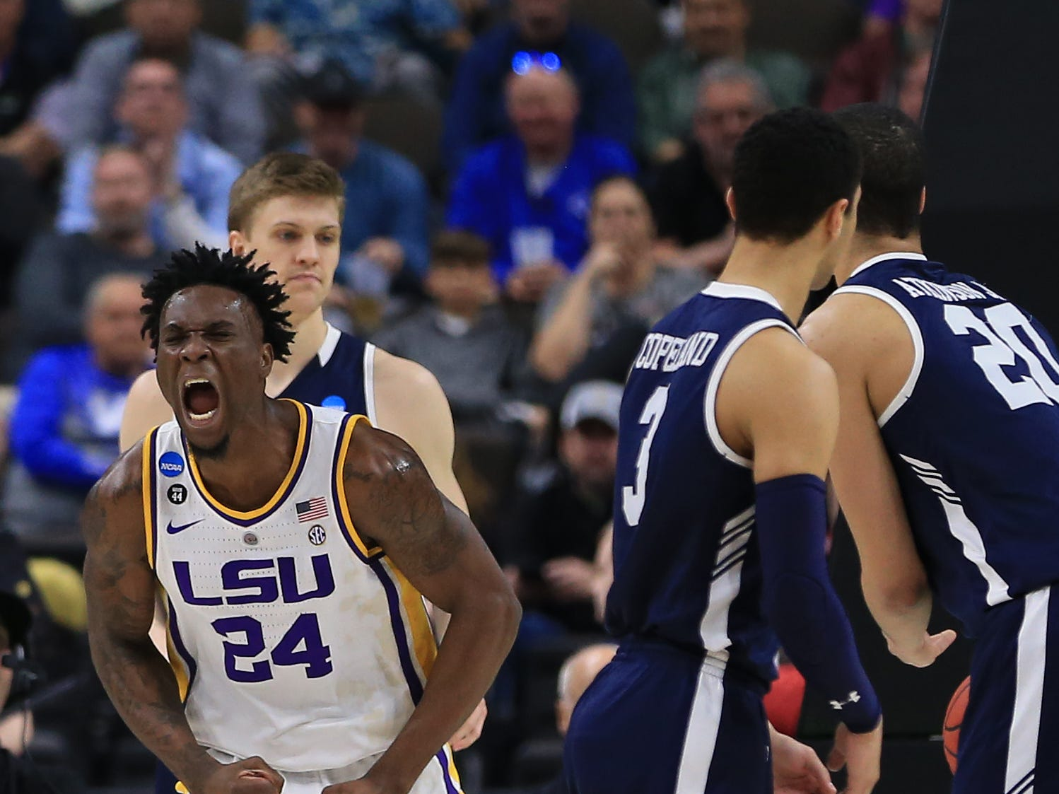 Mar 21, 2019; Jacksonville, FL, USA; LSU Tigers forward Emmitt Williams (24) reacts during the second half against the Yale Bulldogs in the first round of the 2019 NCAA Tournament at Jacksonville Veterans Memorial Arena. Mandatory Credit: Matt Stamey-USA TODAY Sports
