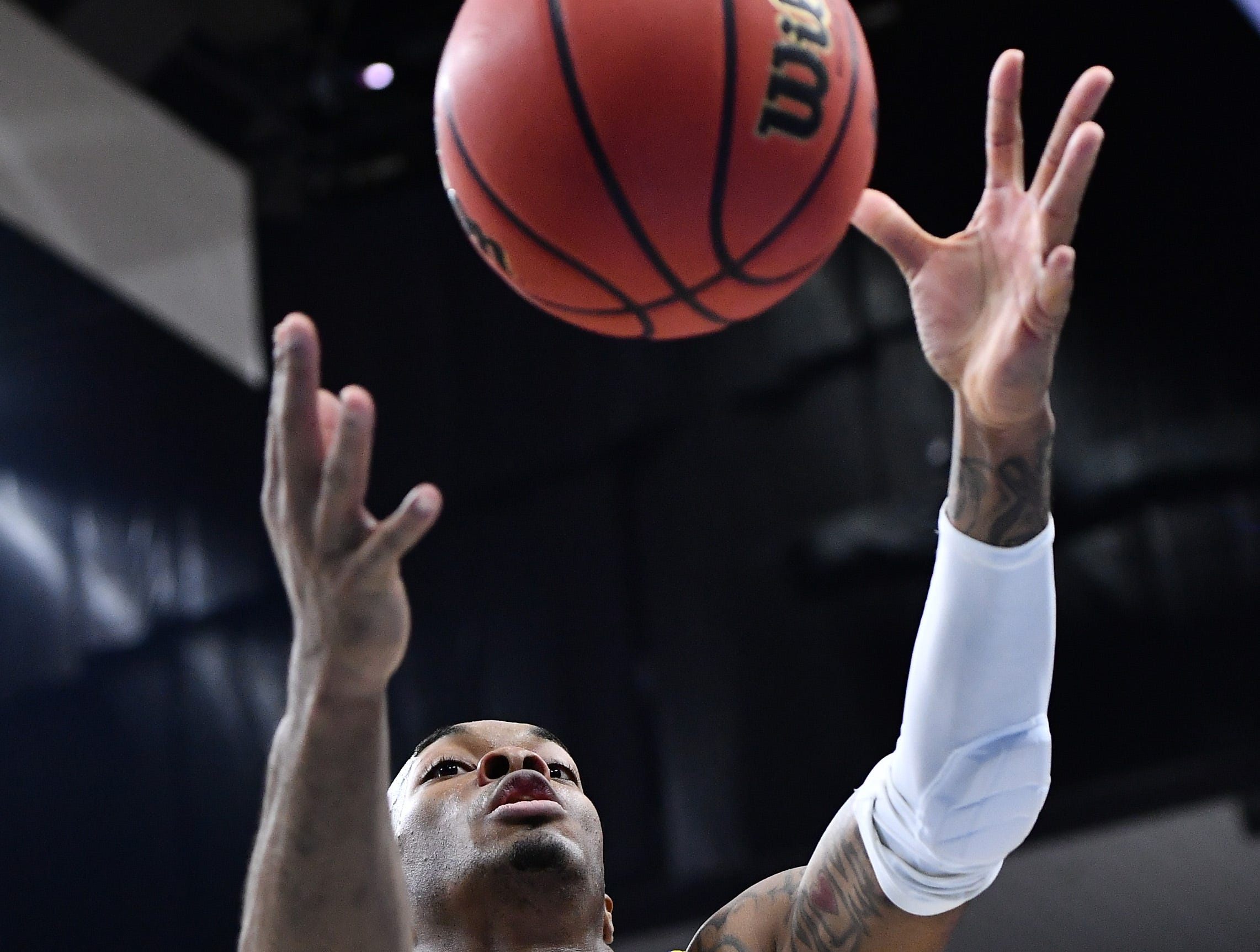 Mar 21, 2019; Jacksonville, FL, USA; LSU Tigers guard Javonte Smart (1) pulls in a rebound against the Yale Bulldogs during the second half in the first round of the 2019 NCAA Tournament at Jacksonville Veterans Memorial Arena. Mandatory Credit: John David Mercer-USA TODAY Sports