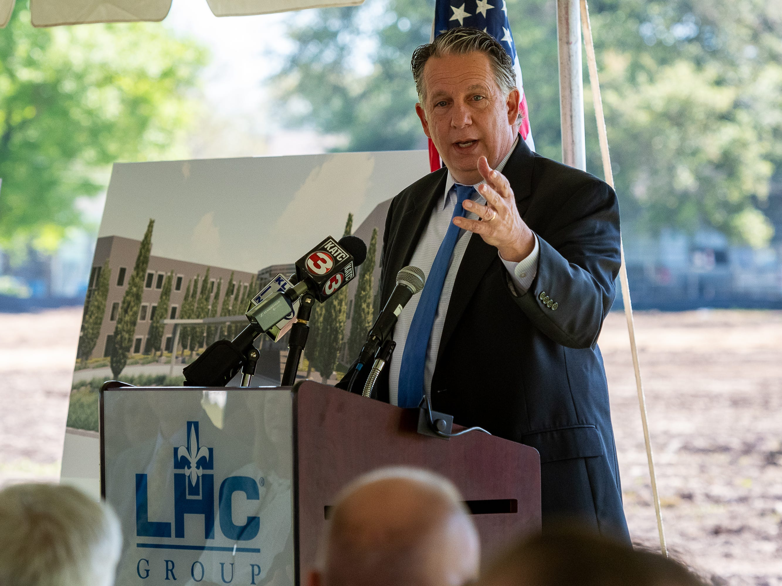 Lafayette Mayor-President Joel Robideaux speaking at ceremony as LHC Group host local, regional, and state VIPs to officially celebrate the expansion of its Lafayette Home Office campus.. Friday, March 22, 2019.