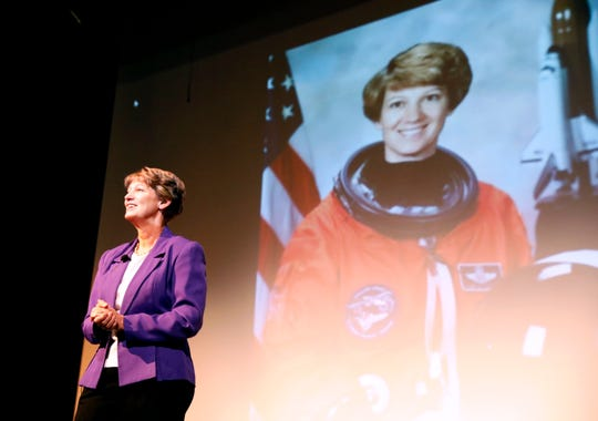 Eileen Collins, the first woman to pilot and command a U.S. space craft, speaks at Ohio University Lancaster's Celebrate Women conference. Collins, a retired Air Force Colonel and retired NASA astronaut, delivered the key note address at the annual conference Friday afternoon, March 22, 2019, in Lancaster.