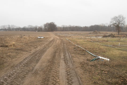 Acres of land next to Pinckney Community High School, shown Wednesday, March 20, 2019, represent the possibility for agritourism for the Schell family.