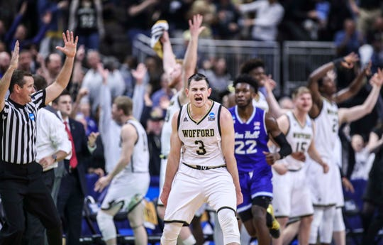 Wofford's Fletcher Magee helped lead the Terriers to a win over Seton Hall in the NCAA first round in Jacksonville Thursday. Magee is the NCAA's all-time record holder for career three-pointers. March 21, 2019