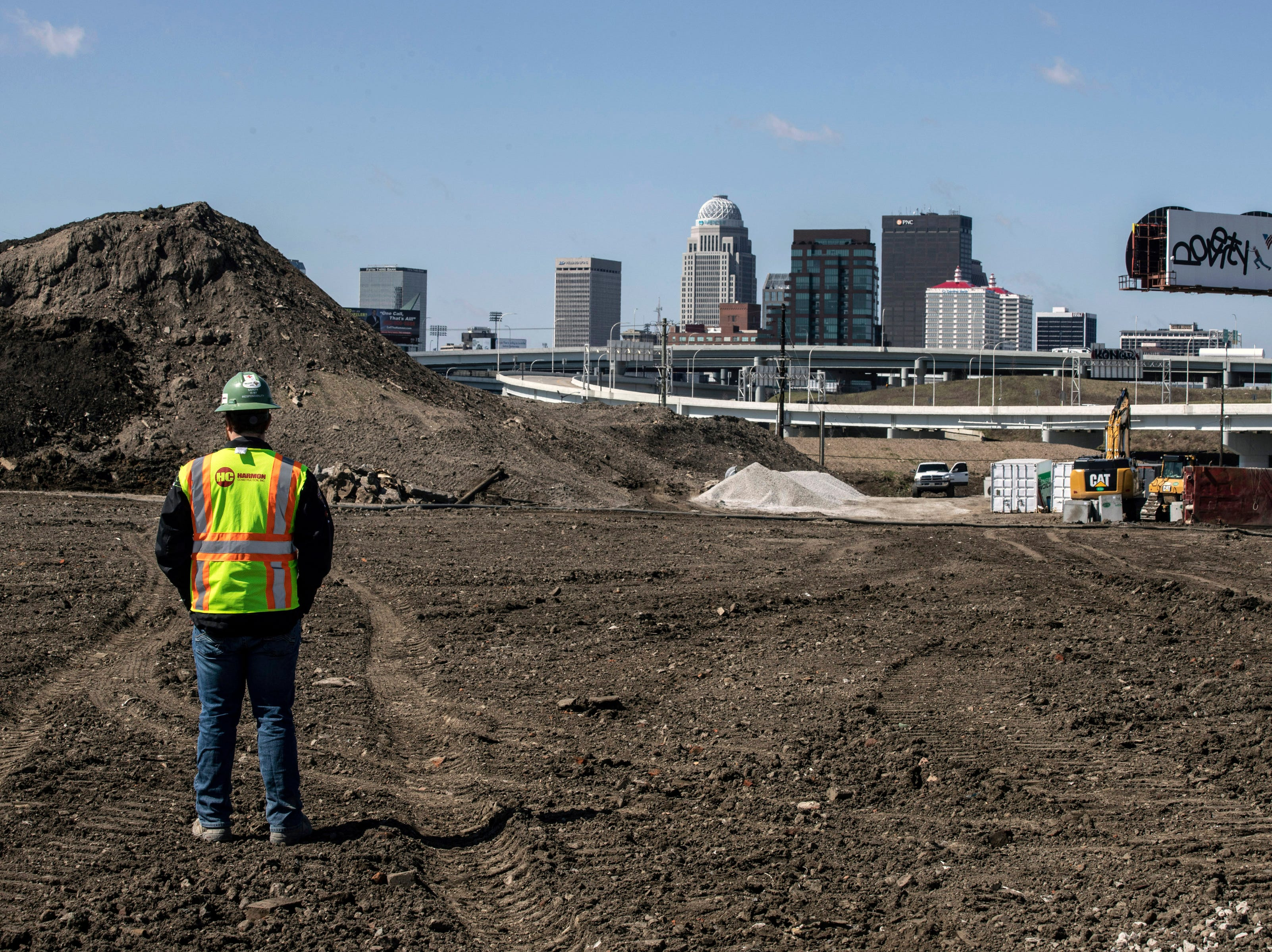 A side field at the new Louisville City FC stadium boasts a clear view of the downtown skyline. 3/22/19