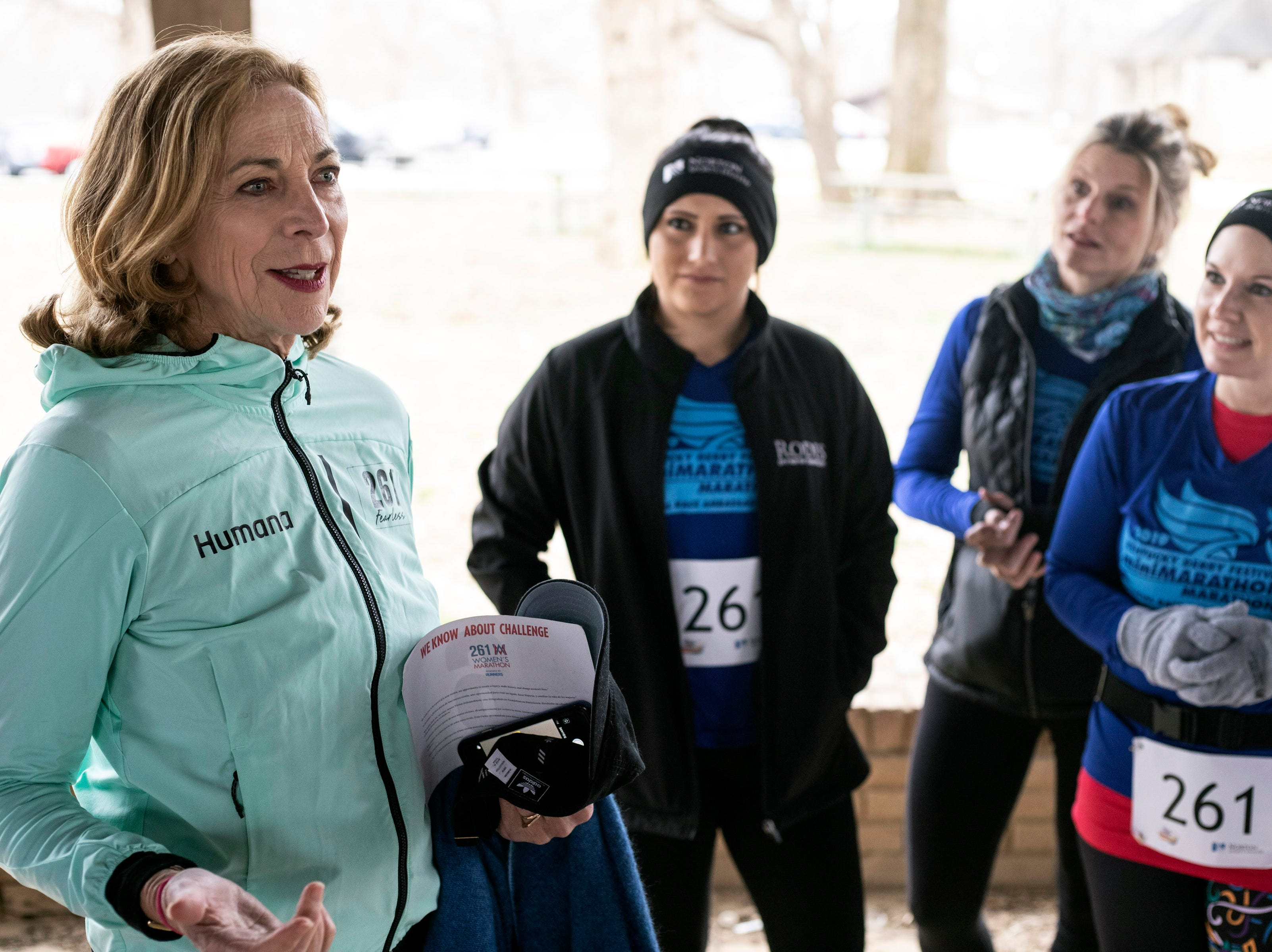 Kathrine Switzer, who in 1967 became the first woman to run the Boston Marathon as a numbered entrant, met with fellow runners near Hogan's Fountain in Cherokee Park on Thursday afternoon.
