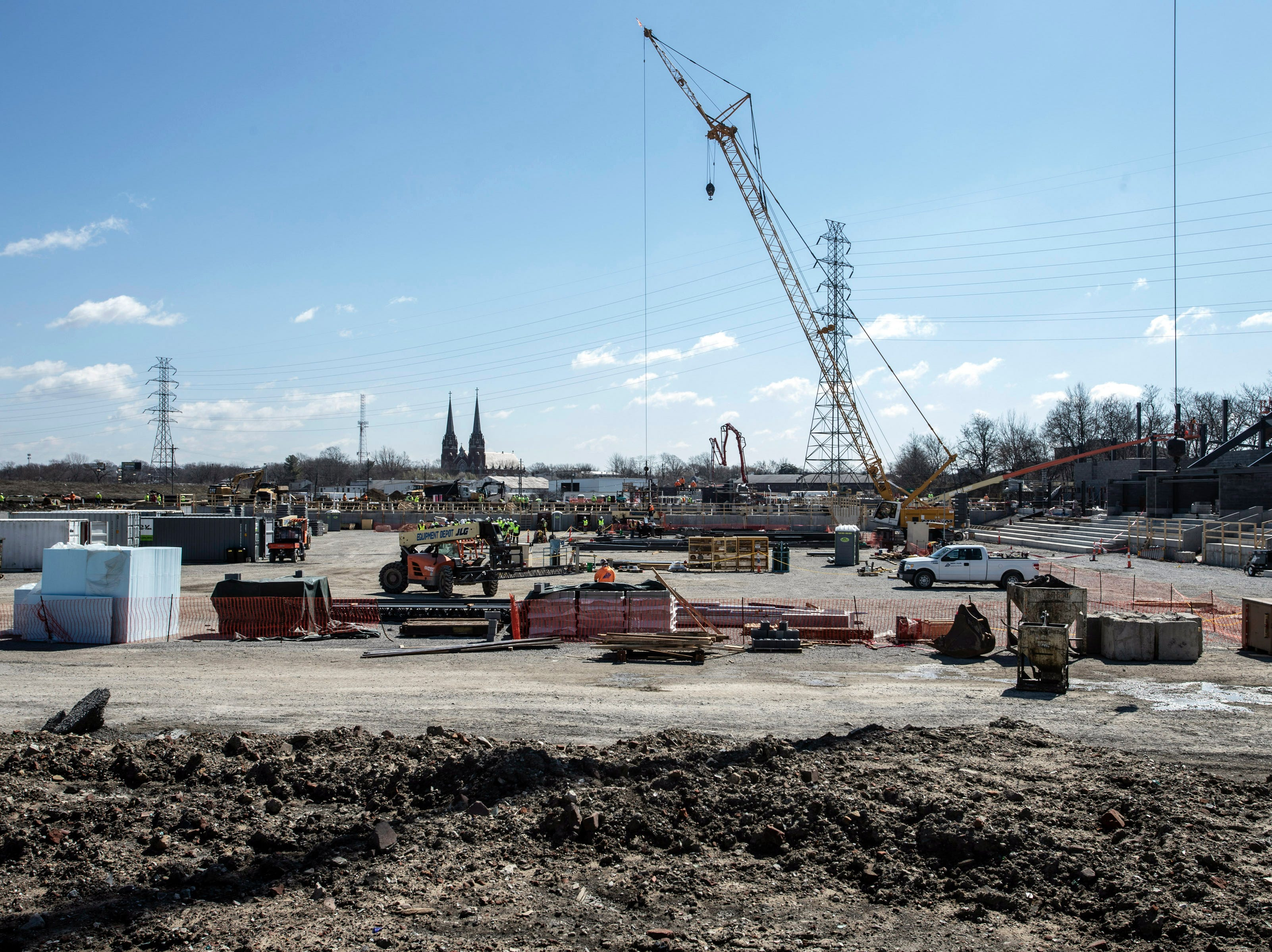 A view of the new Louisville City FC stadium looking south shows the width of the playing field. 3/22/19