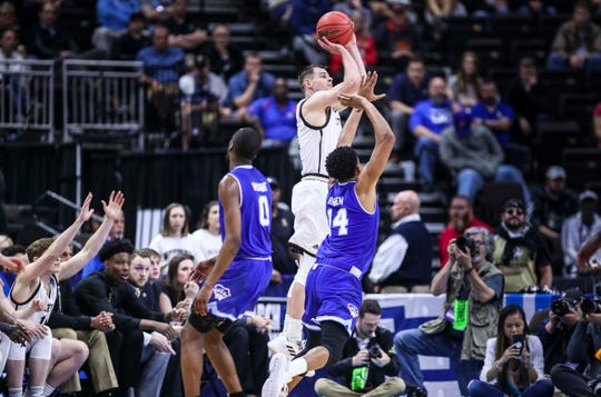 Wofford's Fletcher Magee, shooting a three-point shot here, helped lead the Terriers to a win over Seton Hall in the NCAA first round in Jacksonville Thursday. Magee is the NCAA's all-time record holder for career three-pointers. March 21, 2019