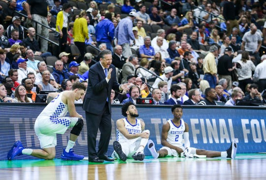 Kentucky's John Calipari seemed to be enjoying the game against Abilene Christian at the NCAA first round in Jacksonville Thursday. March 21, 2019