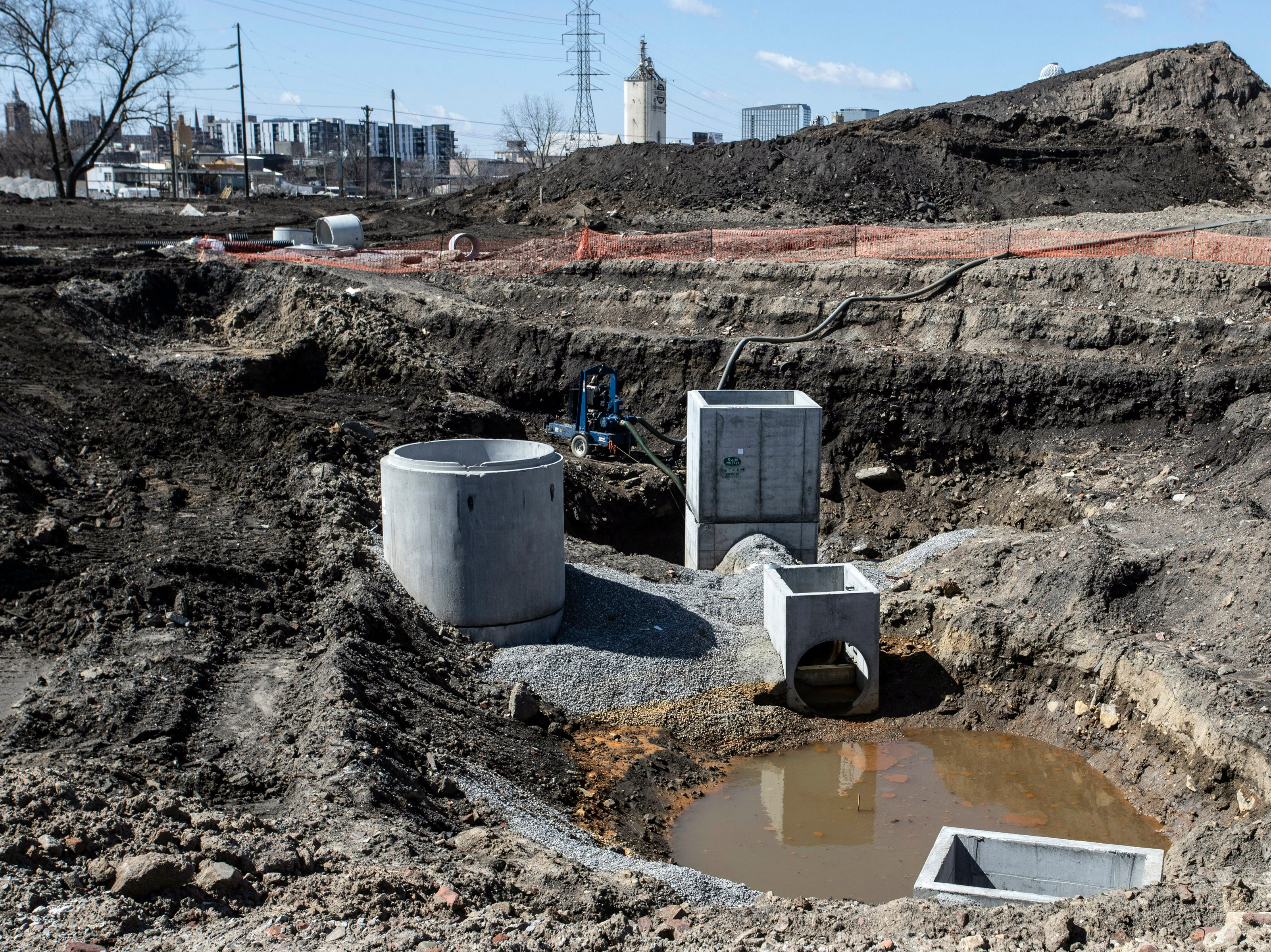 Sewage connectors are prepped at the construction site of the new Louisville City FC stadium in Butchertown. 3/22/19