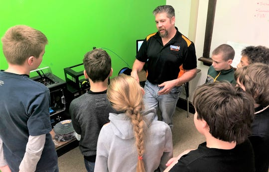 At a recent PI/SWAT technology club meeting, Kiel Middle School students learned about 3D design and industry growth from Bob Rutten, engineer and director of sales and manufacturing from the Coex Company in Appleton.