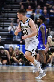 Wofford Terriers guard Nathan Hoover (10) reacts against the Seton Hall Pirates during the second half in the first round of the 2019 NCAA Tournament on March 21, 2019.