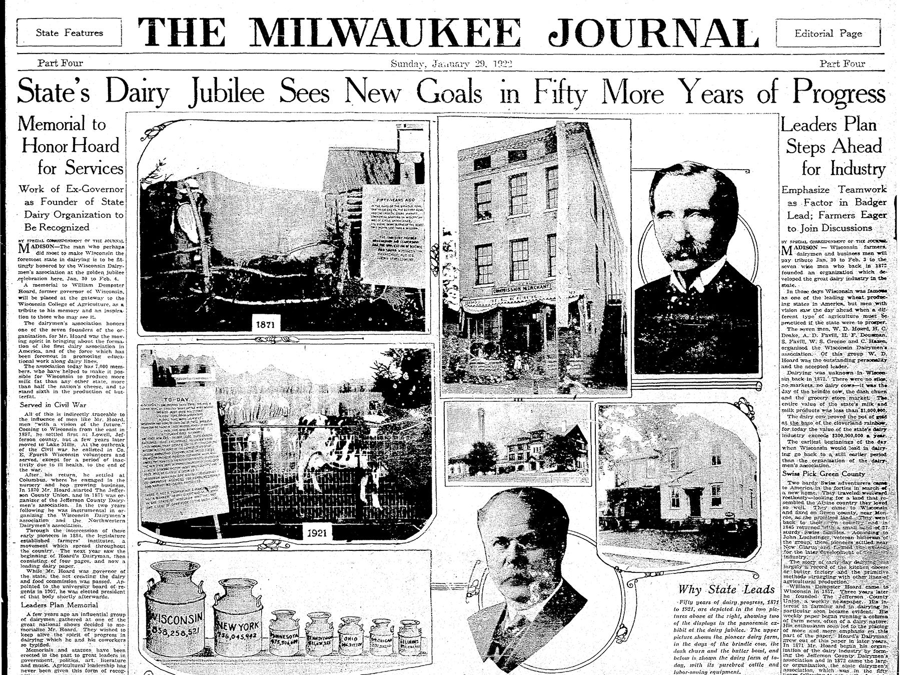 In 1922, Wisconsin's dairy industry was celebrating its 50th year. The January 29 edition of The Milwaukee Journal featured several stories outlining its success.